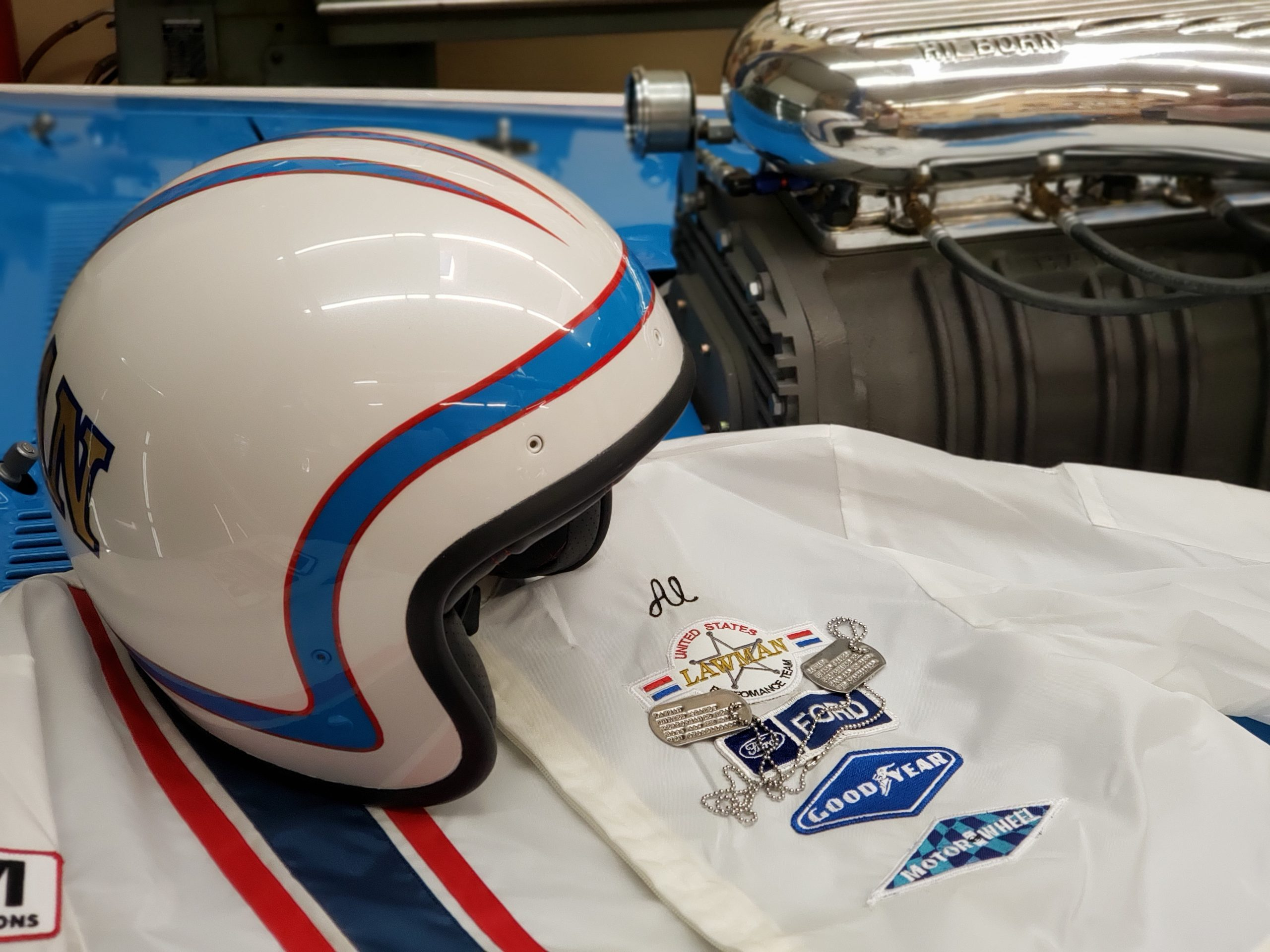 Lawman Boss 429 Ford Mustang helmet and suit