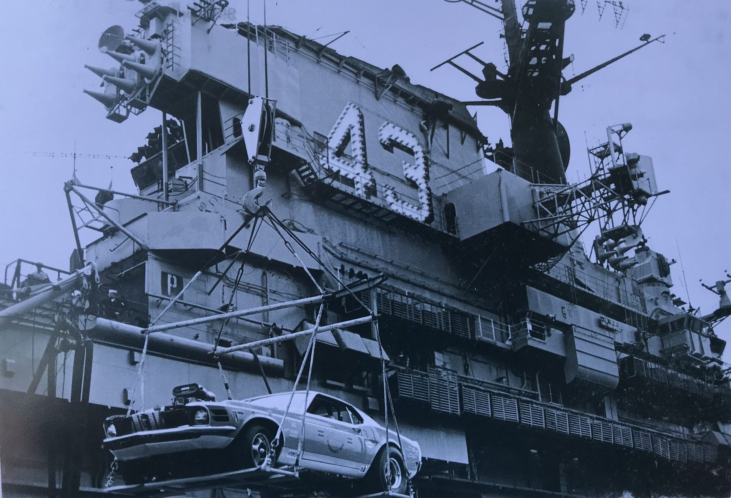 Lawman Boss 429 Ford Mustang historical unloading from ship carrier crane