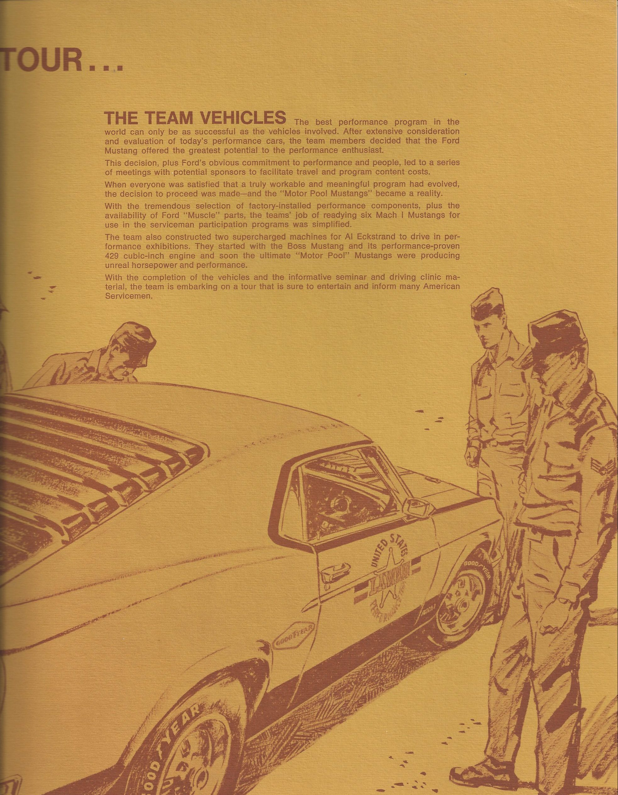 1970 Military Performance Tour literature team about page