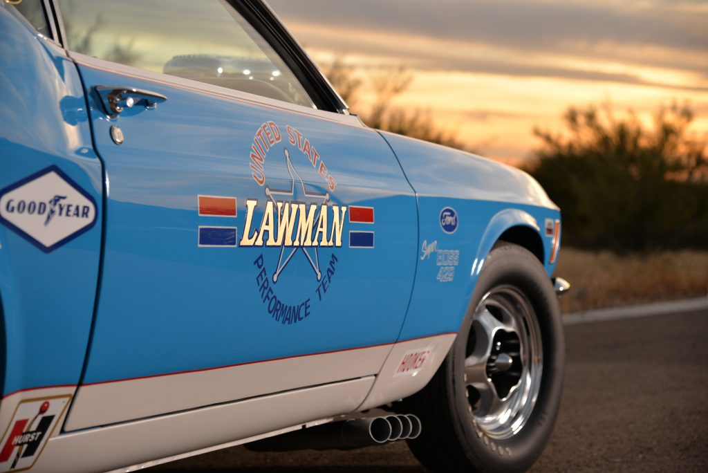 Lawman Boss 429 Ford Mustang graphic decal detail
