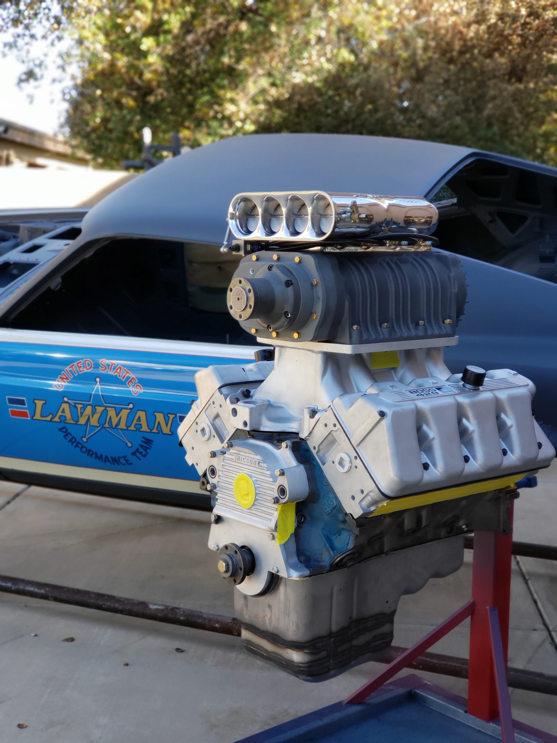 Lawman Boss 429 Ford Mustang restoration engine bare on stand