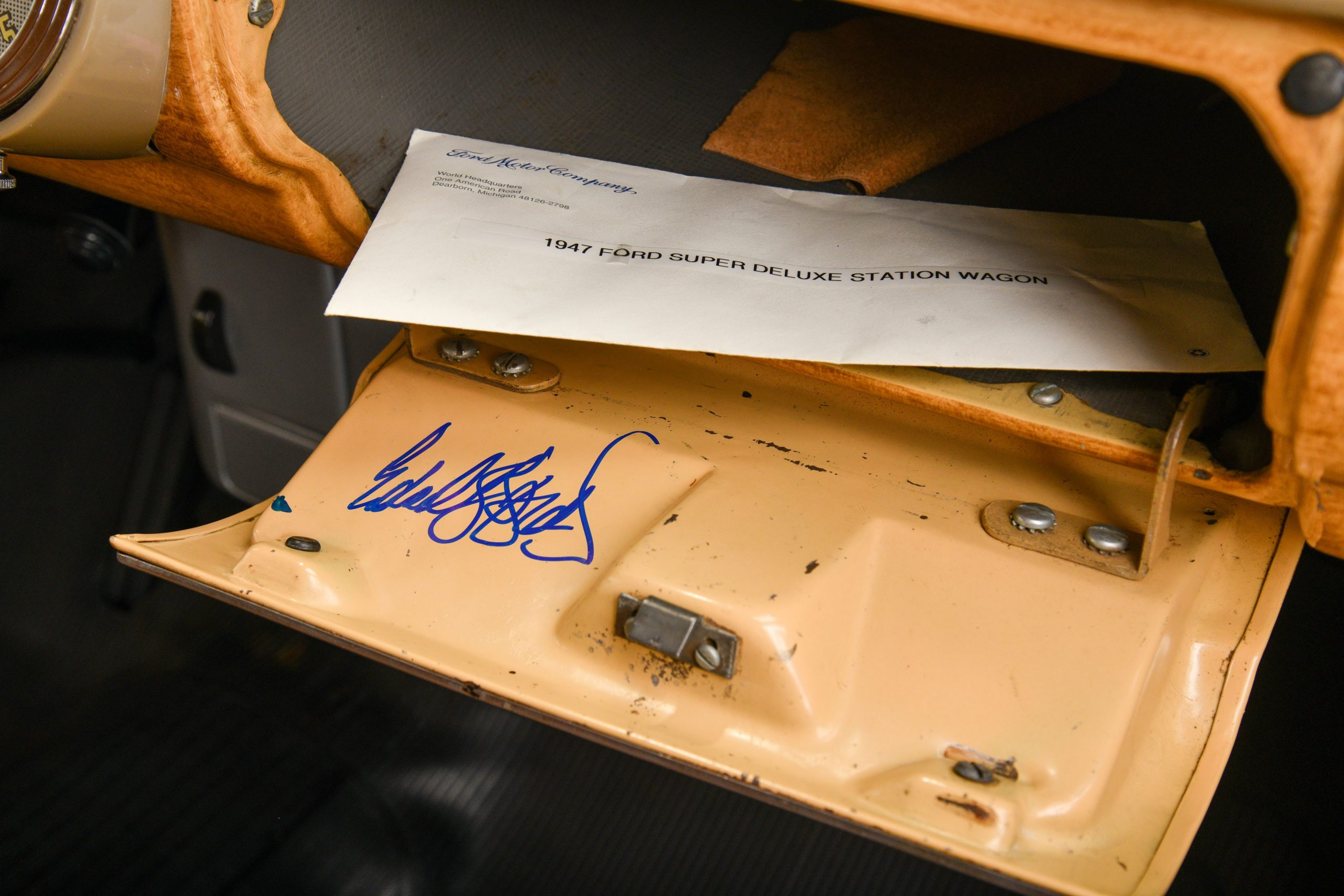 1947 FORD SUPER DELUXE CUSTOM interior signed glove box and letter