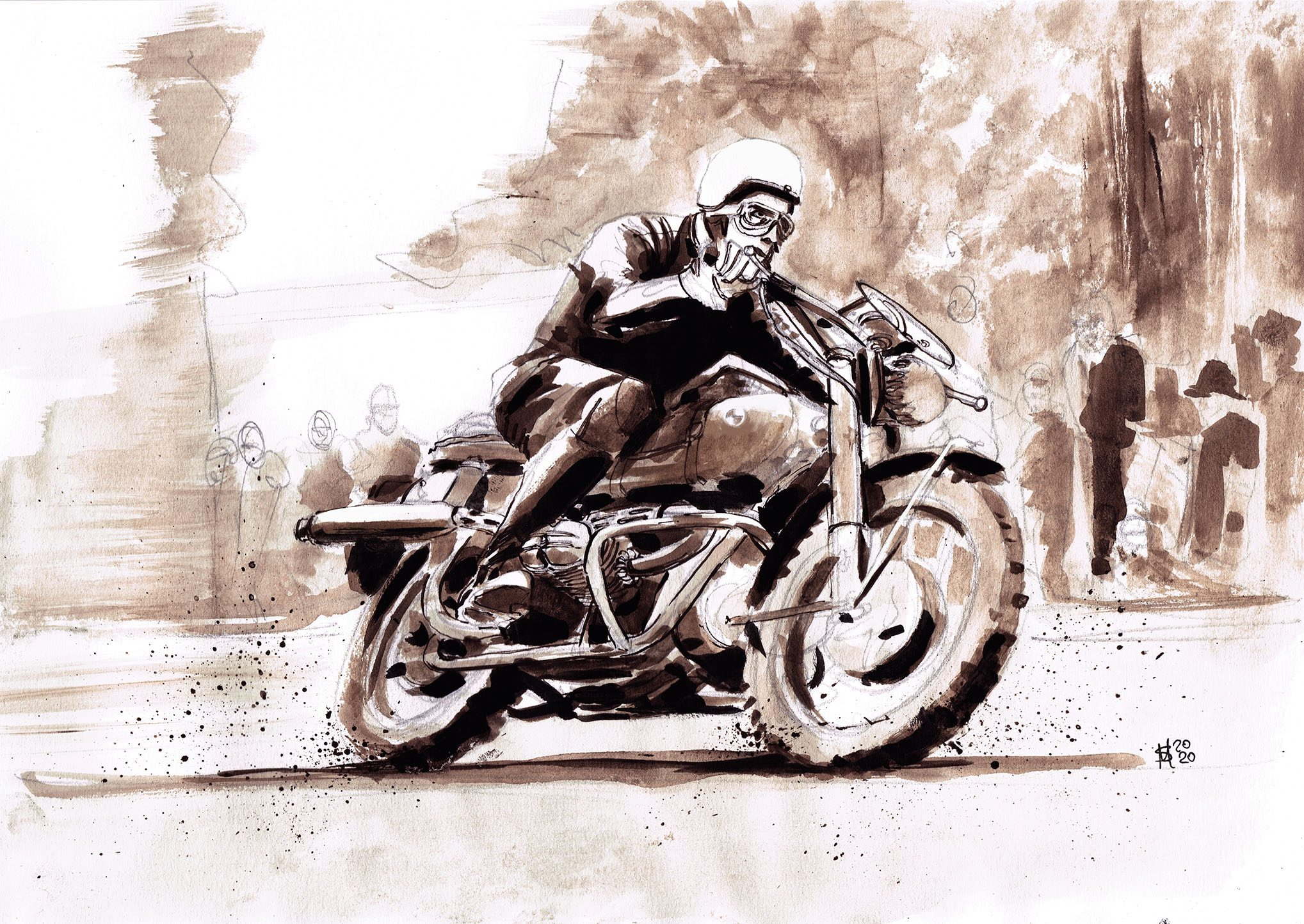 BMW R69S illustration rider