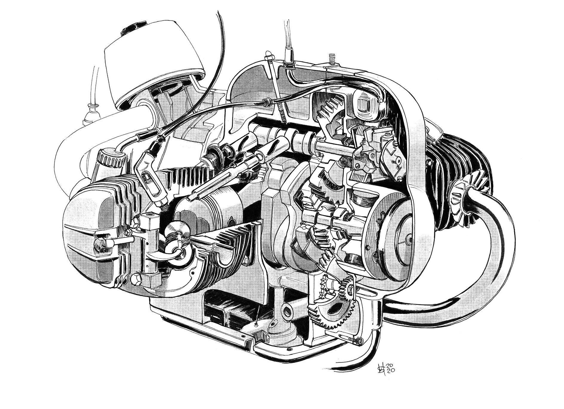 BMW R69S illustration engine