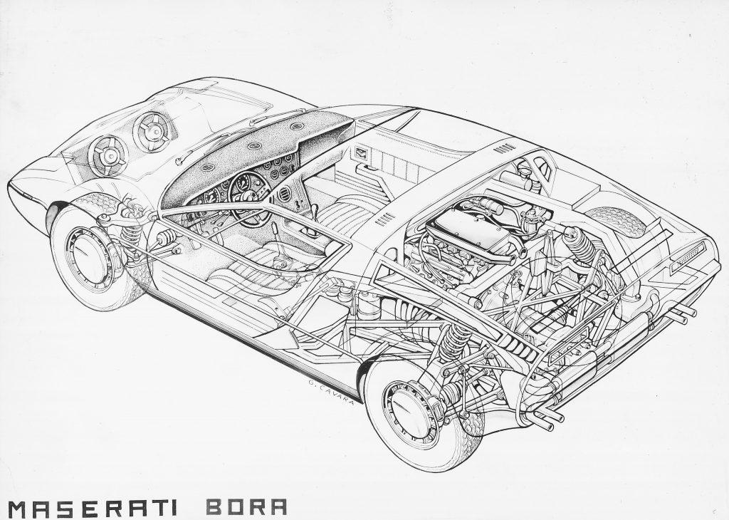 Maserati Bora schematic design drawing