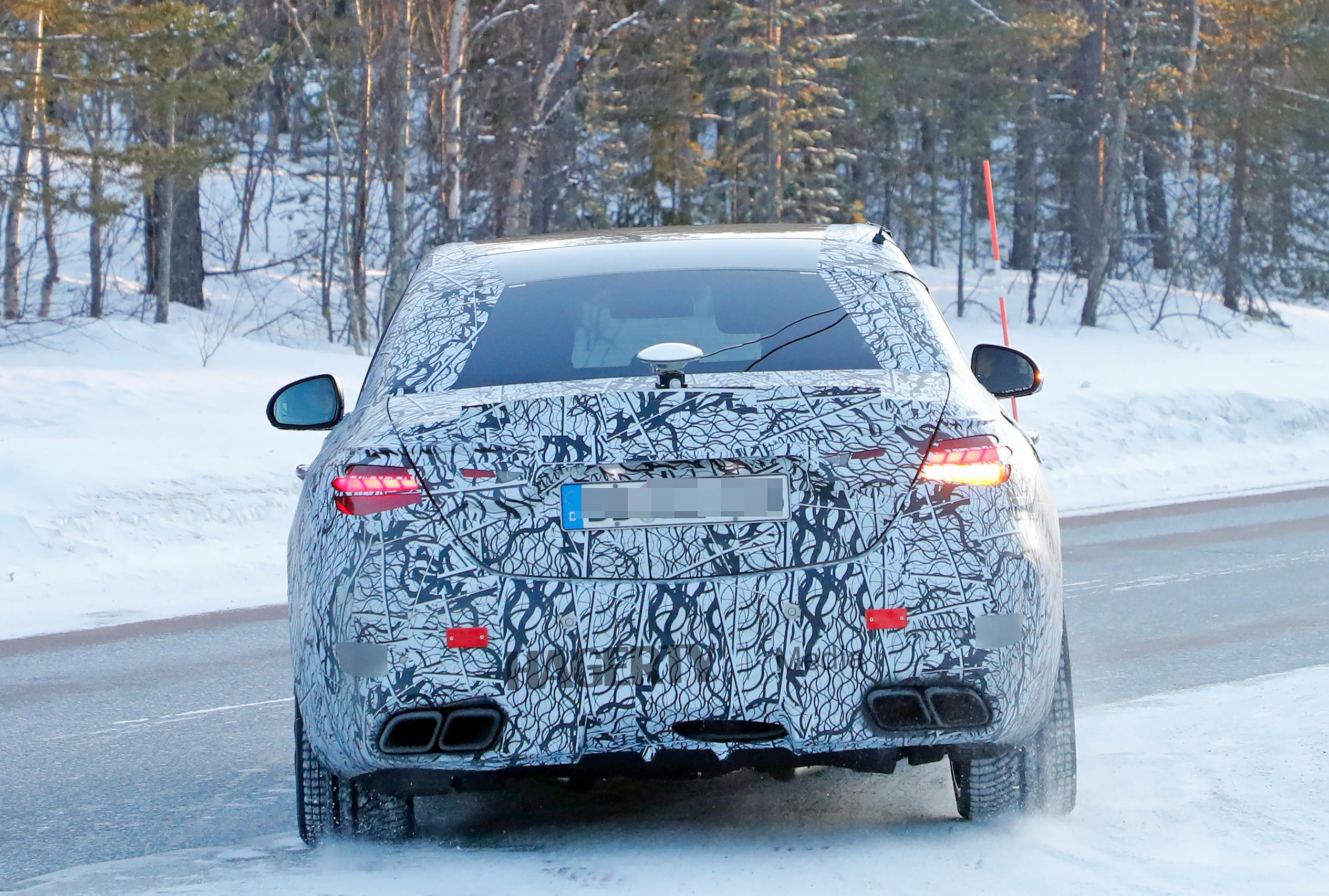 Mercedes AMG C63e camo spy rear