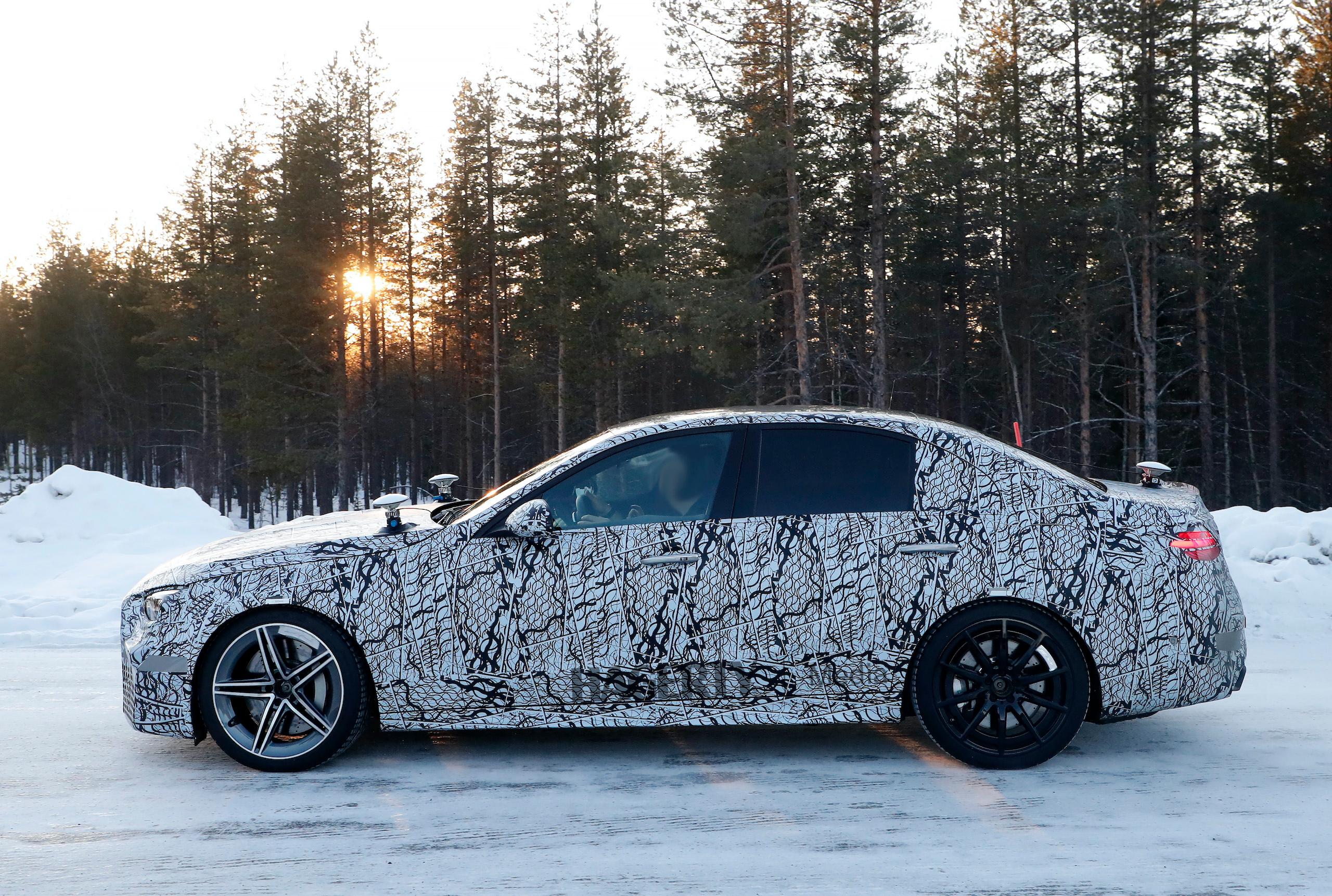 Mercedes AMG C63e camo spy side profile