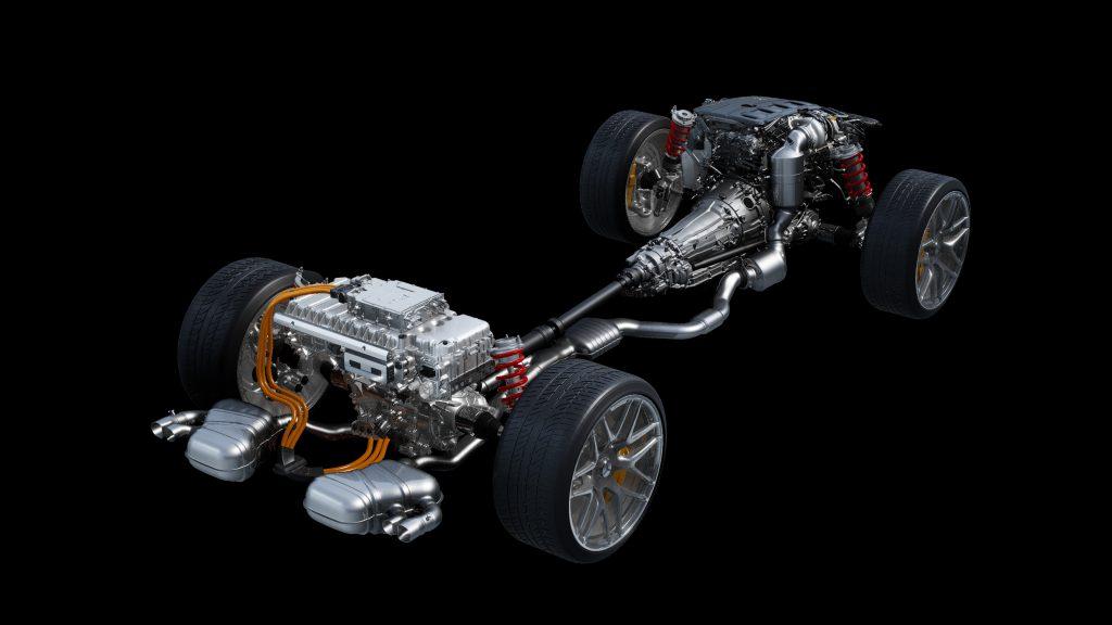 Mercedes-AMG Electrification four-cylinder drivetrain diagram