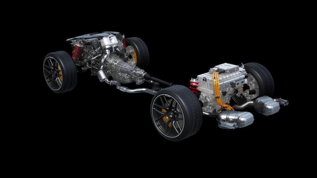 Mercedes-AMG Electrification V-8 drivetrain diagram