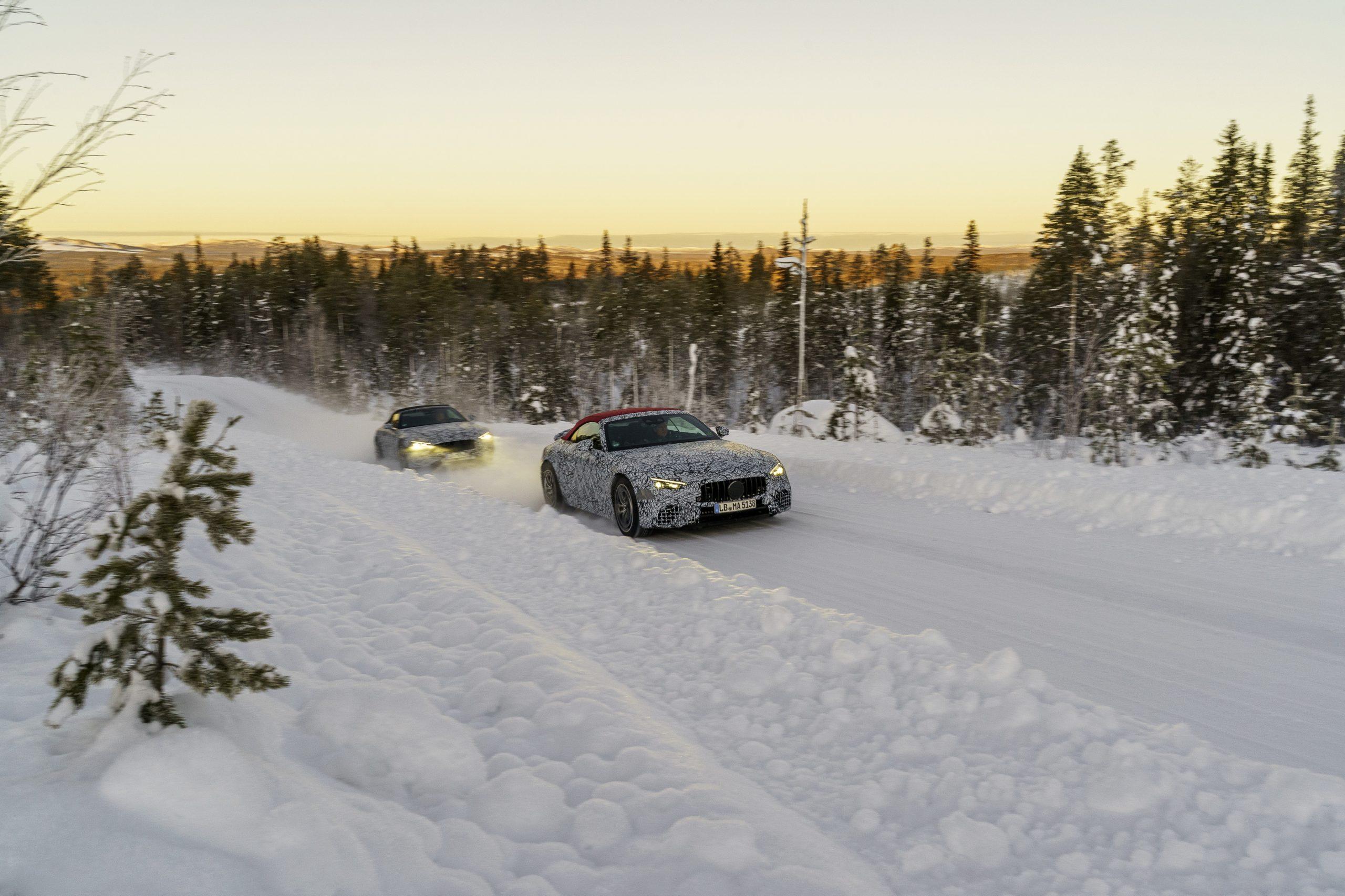 Mercedes SL winter testing both cars lead follow