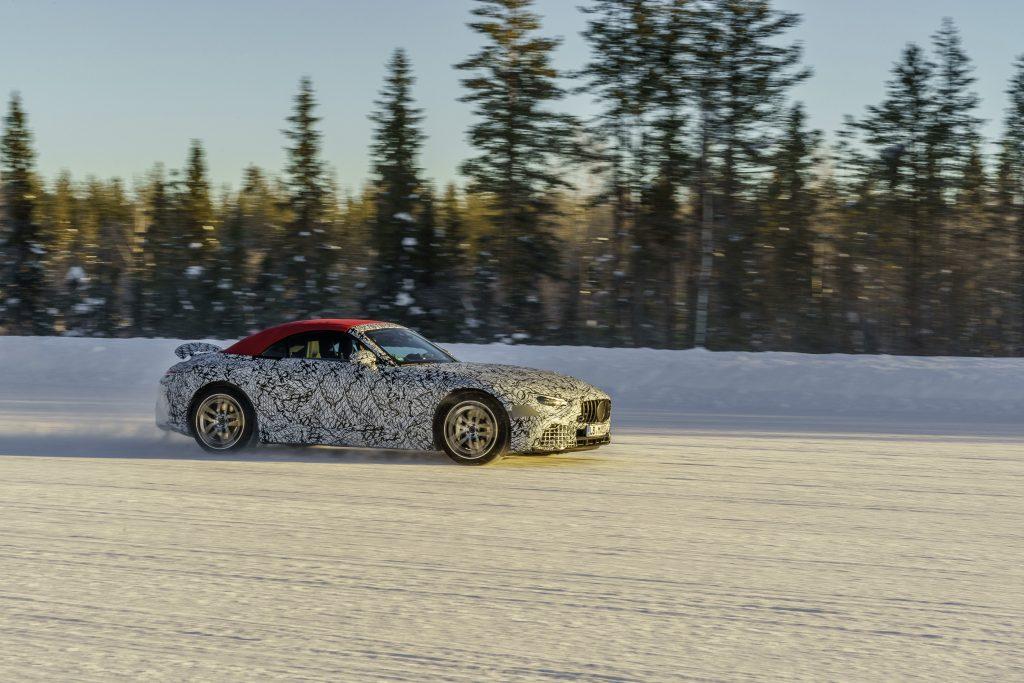Mercedes SL winter testing single car side profile