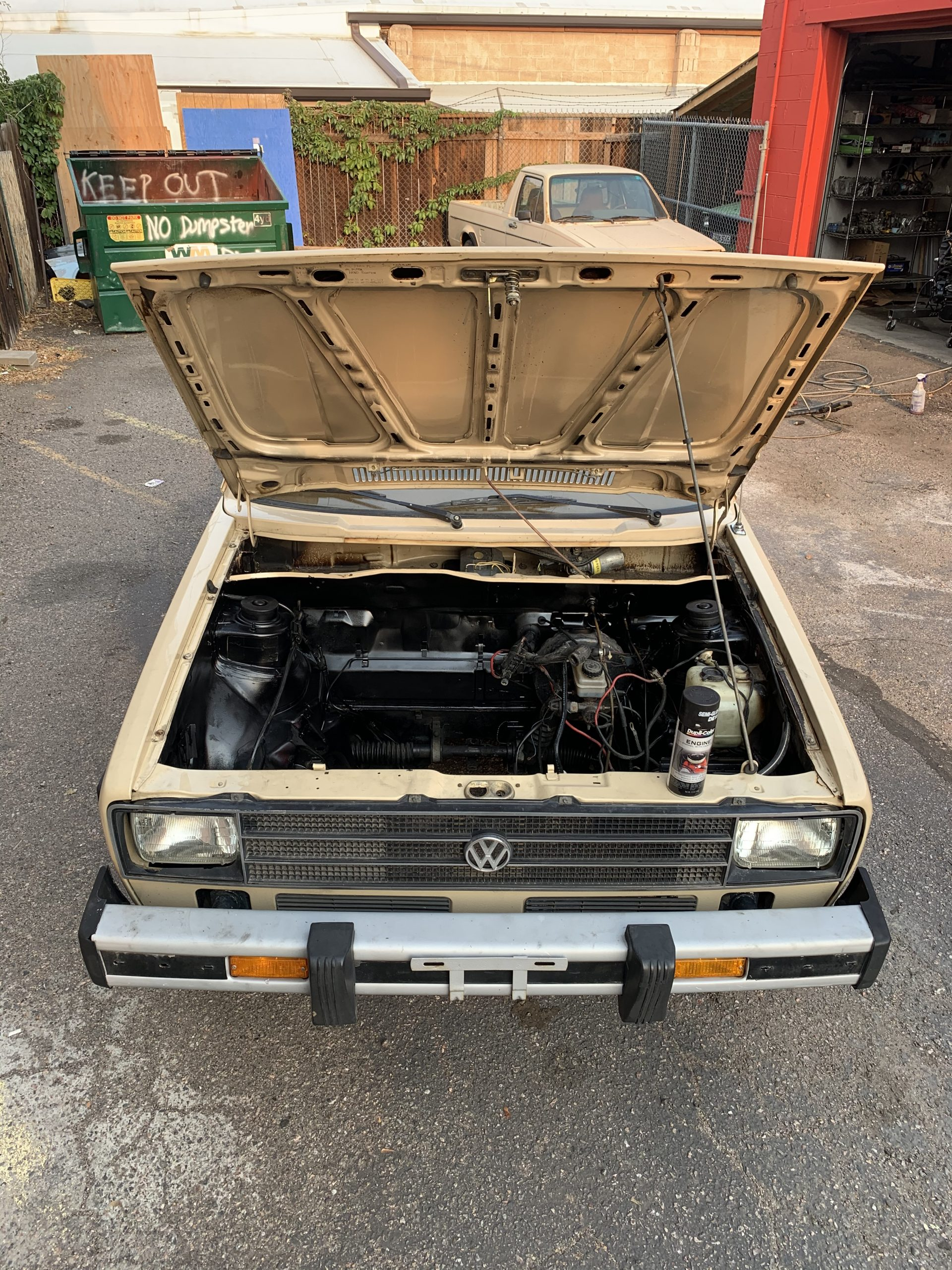 1980 VW Rabbit TDI swap engine out Aug 22, 6 29 13 PM
