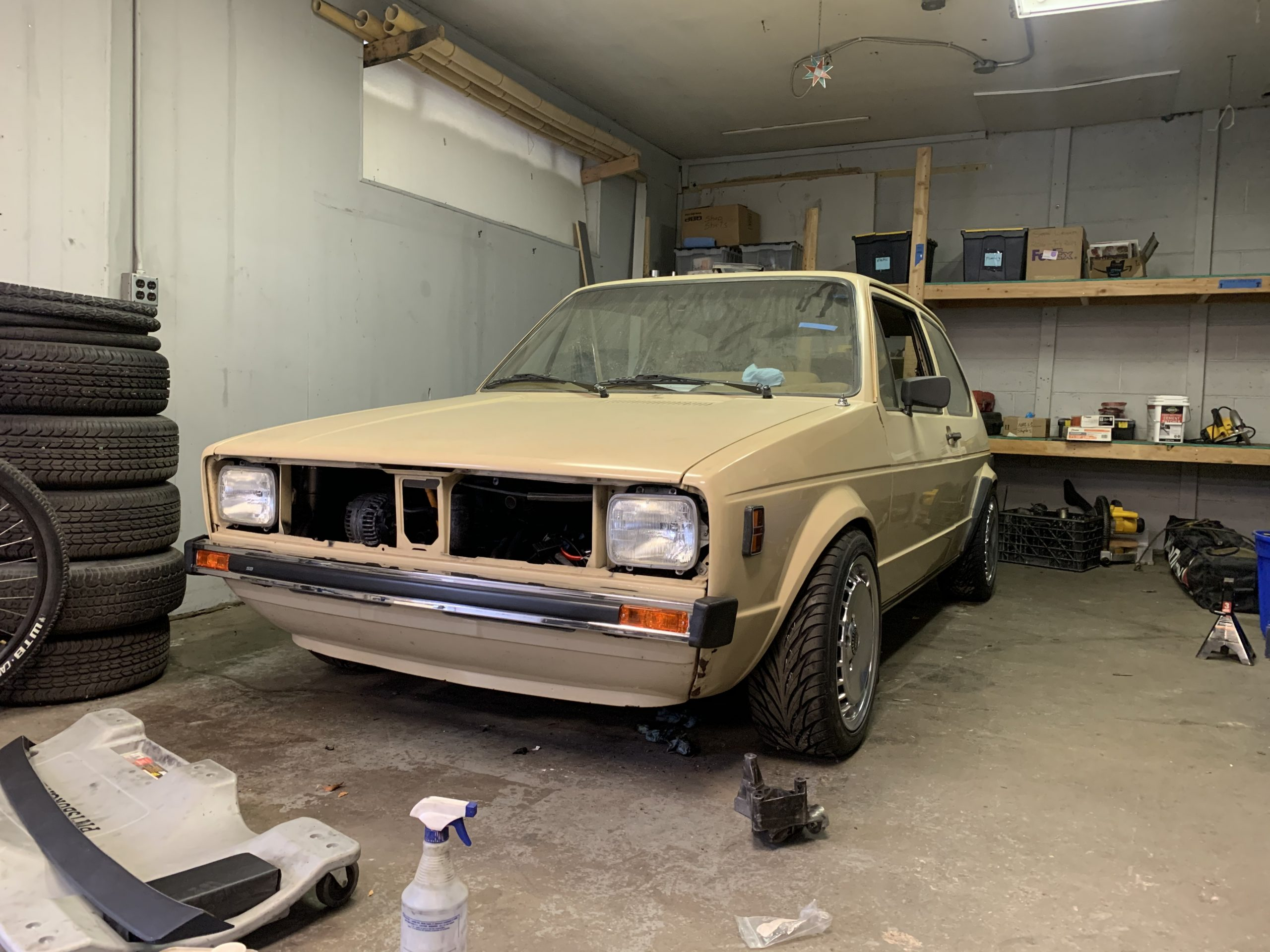 1980 VW Rabbit TDI swap before splitter front Nov 09, 11 27 07 AM
