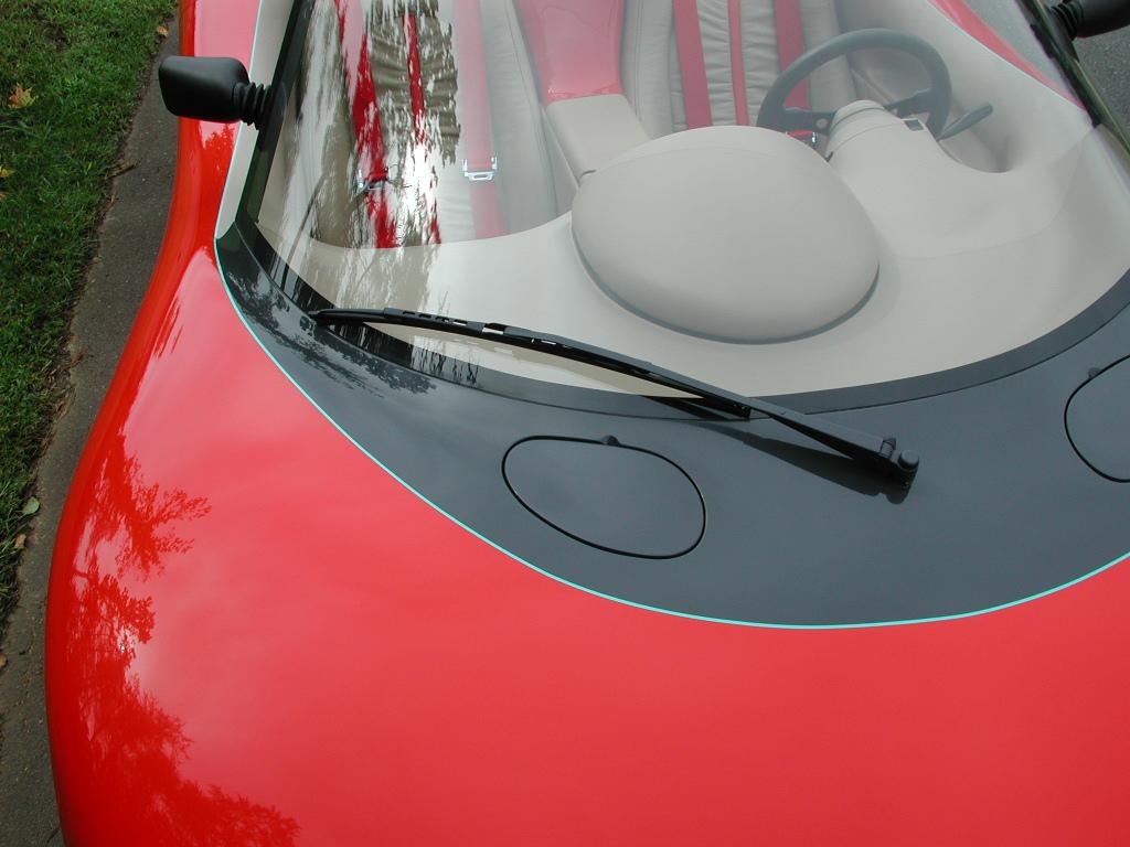 Piontek car windshield hood close