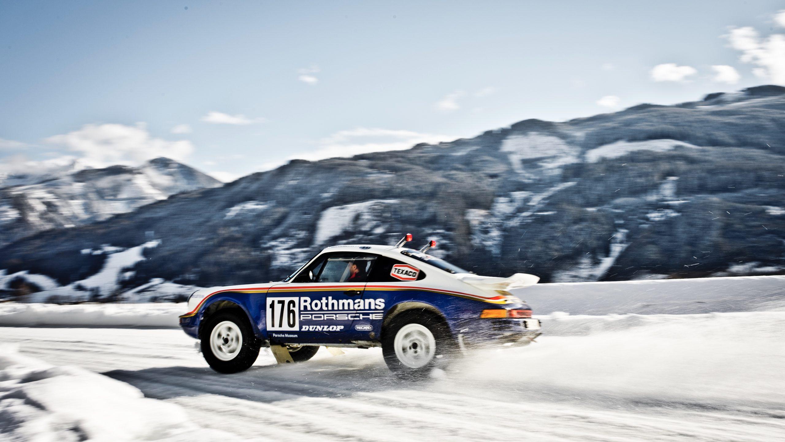 Porsche 953/Walter Röhrl drift rear side profile