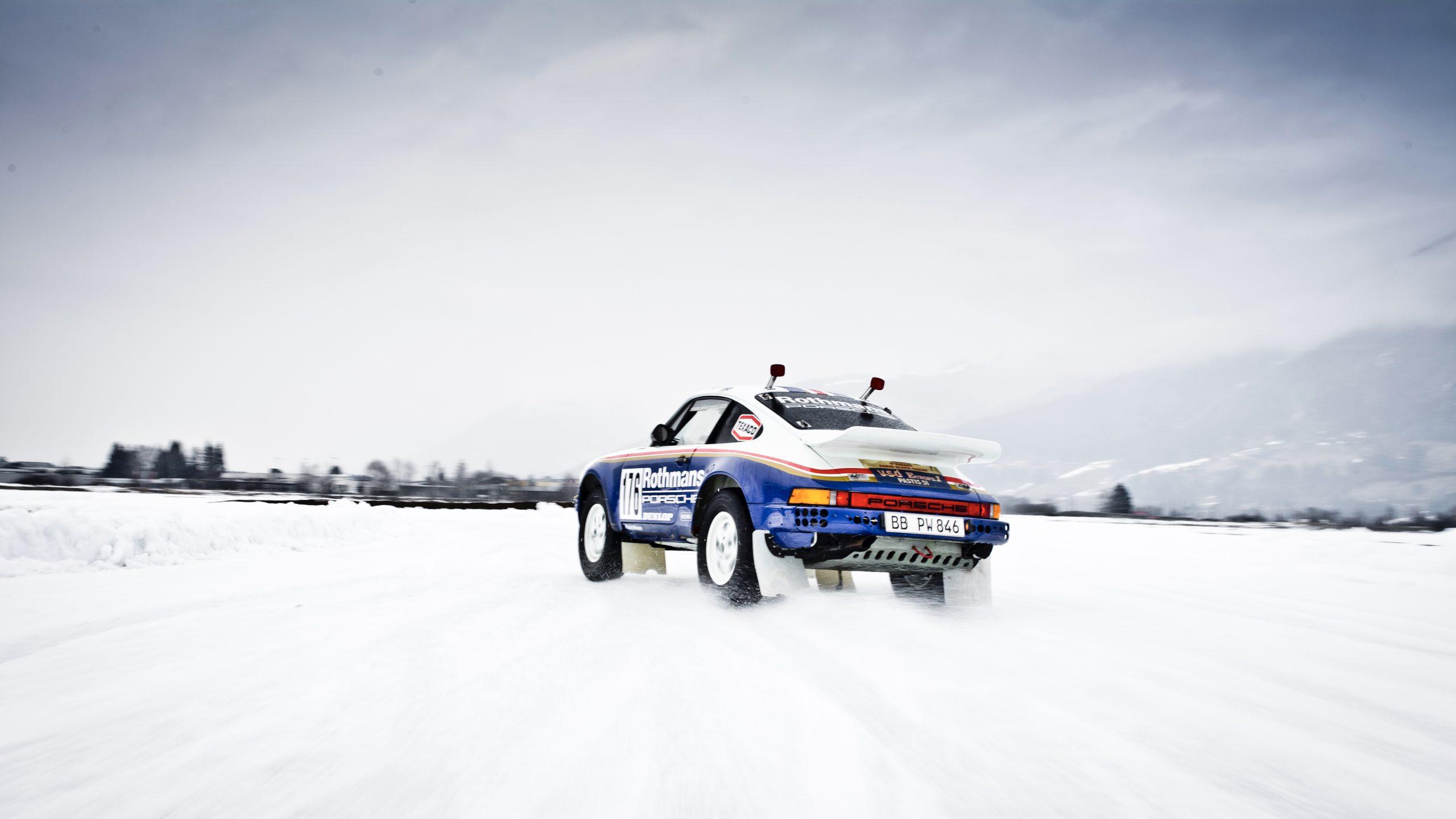 Porsche 953/Walter Röhrl drift rear three quarter