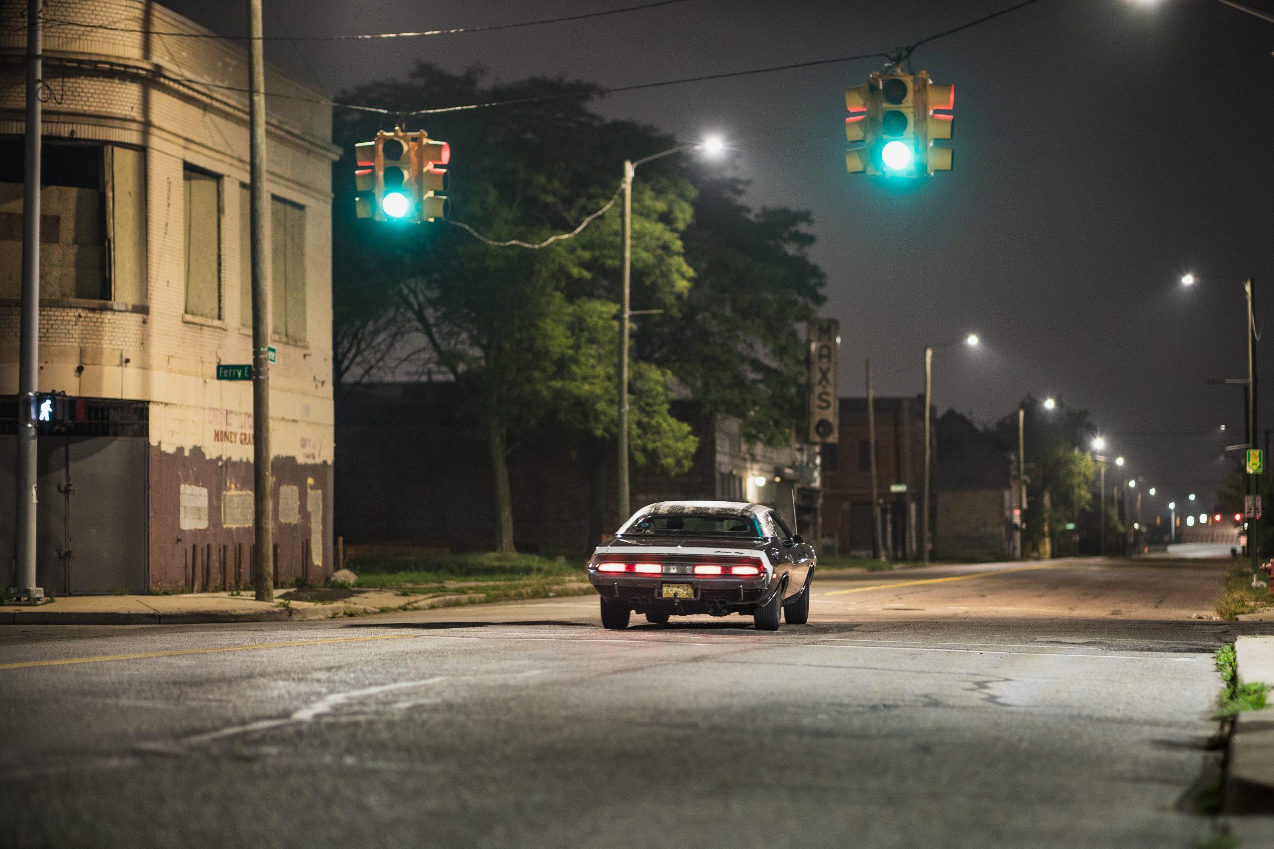 black ghost challenger green lights detroit
