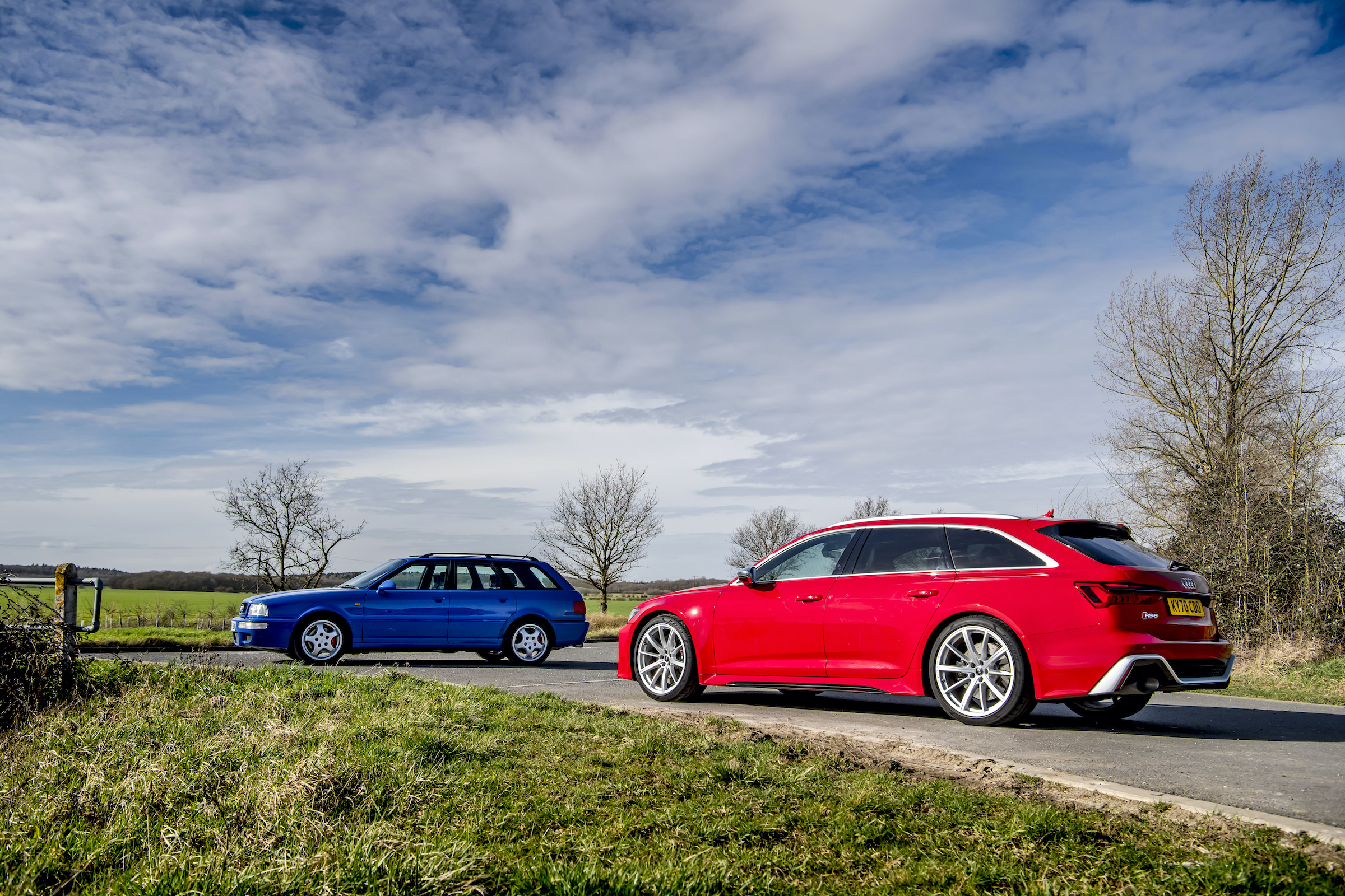 Audi RS2 and RS6 rear three-quarter countryside
