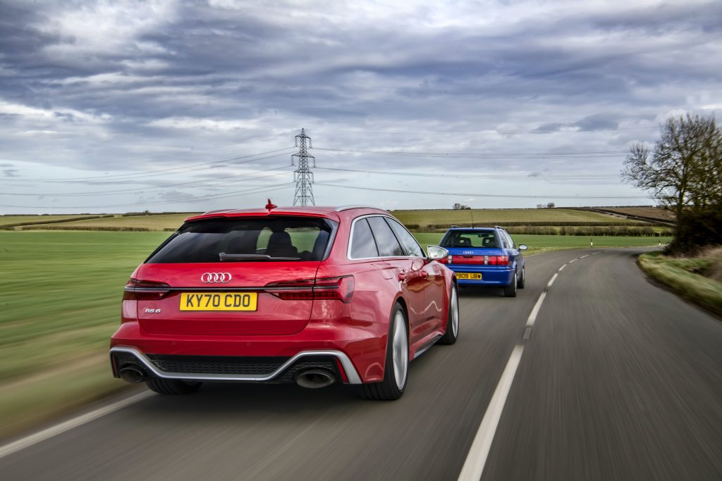 Audi RS2 leading RS6 rear countryside drive action