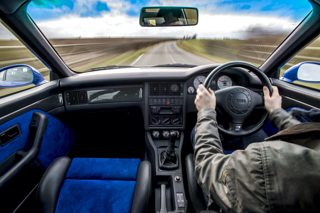 Audi RS2 interior driving action