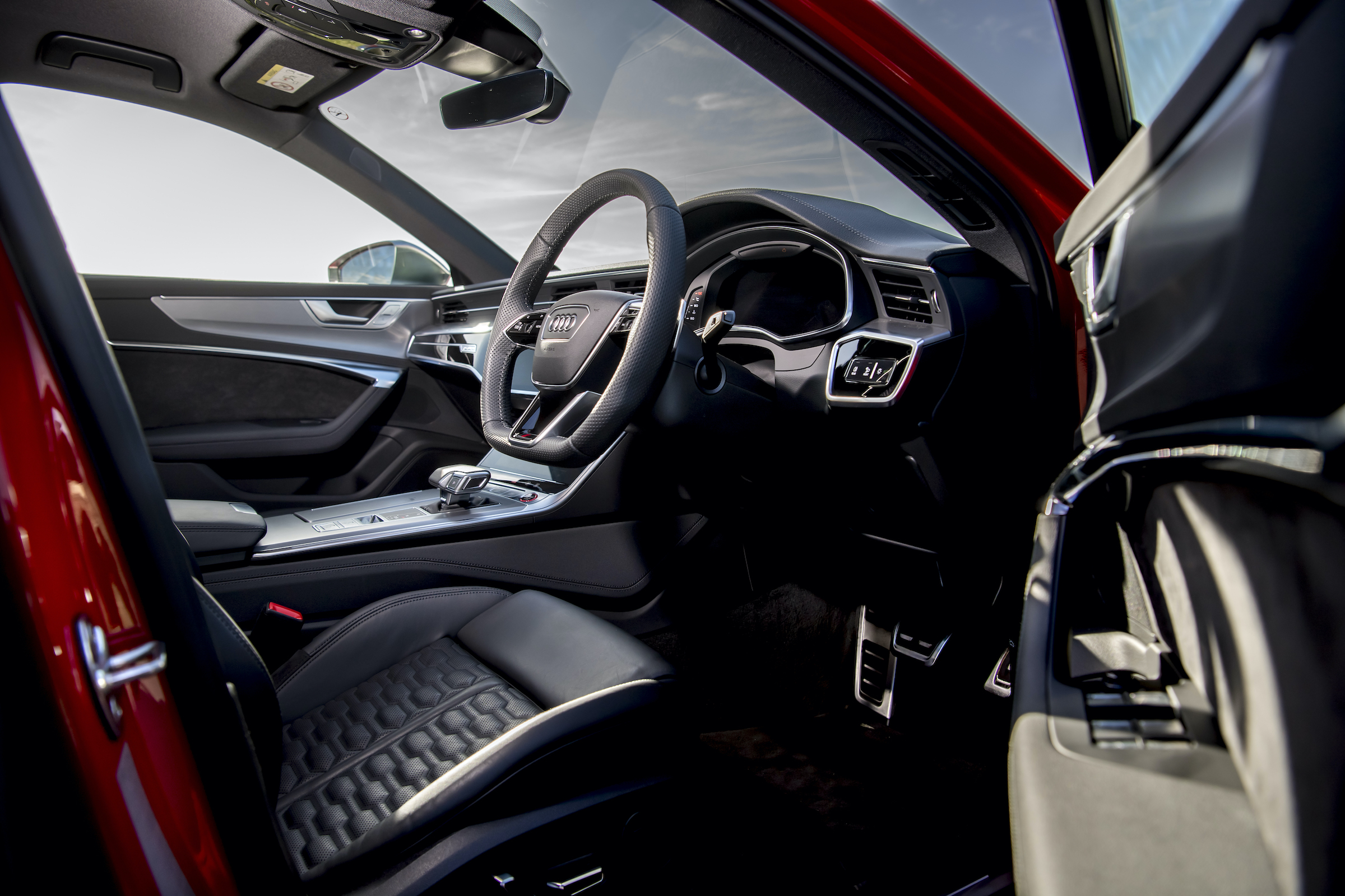 Audi RS6 interior driver entry