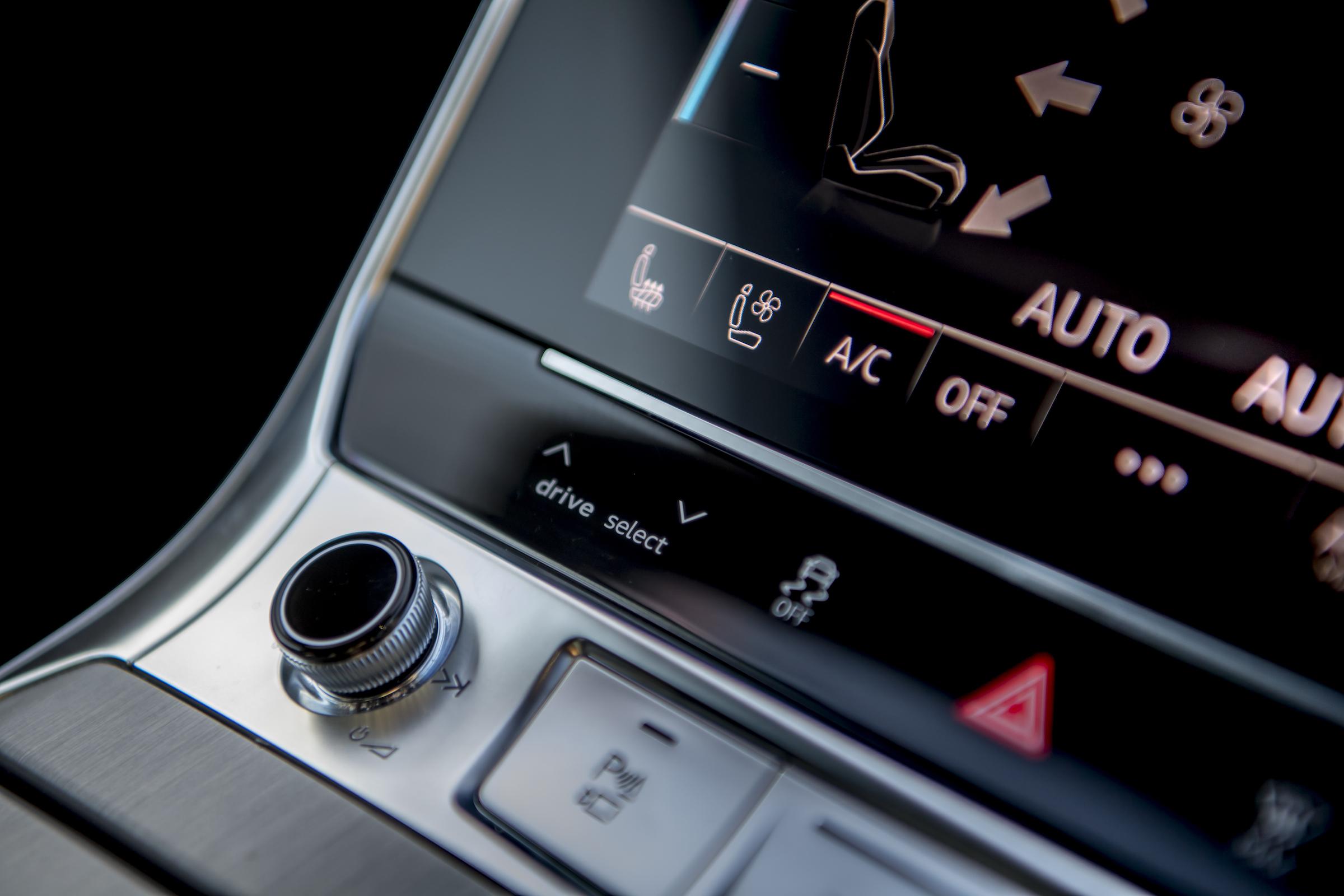 Audi RS6 interior center console controls close