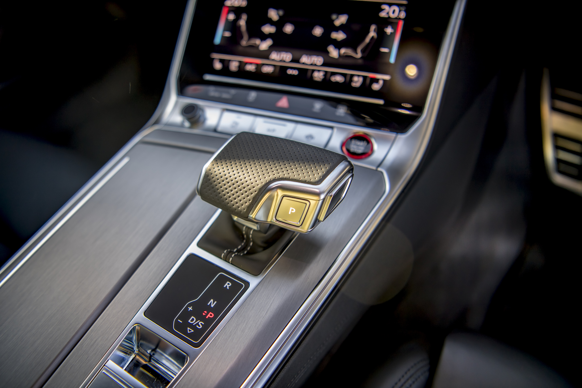 Audi RS6 interior gear selector detail