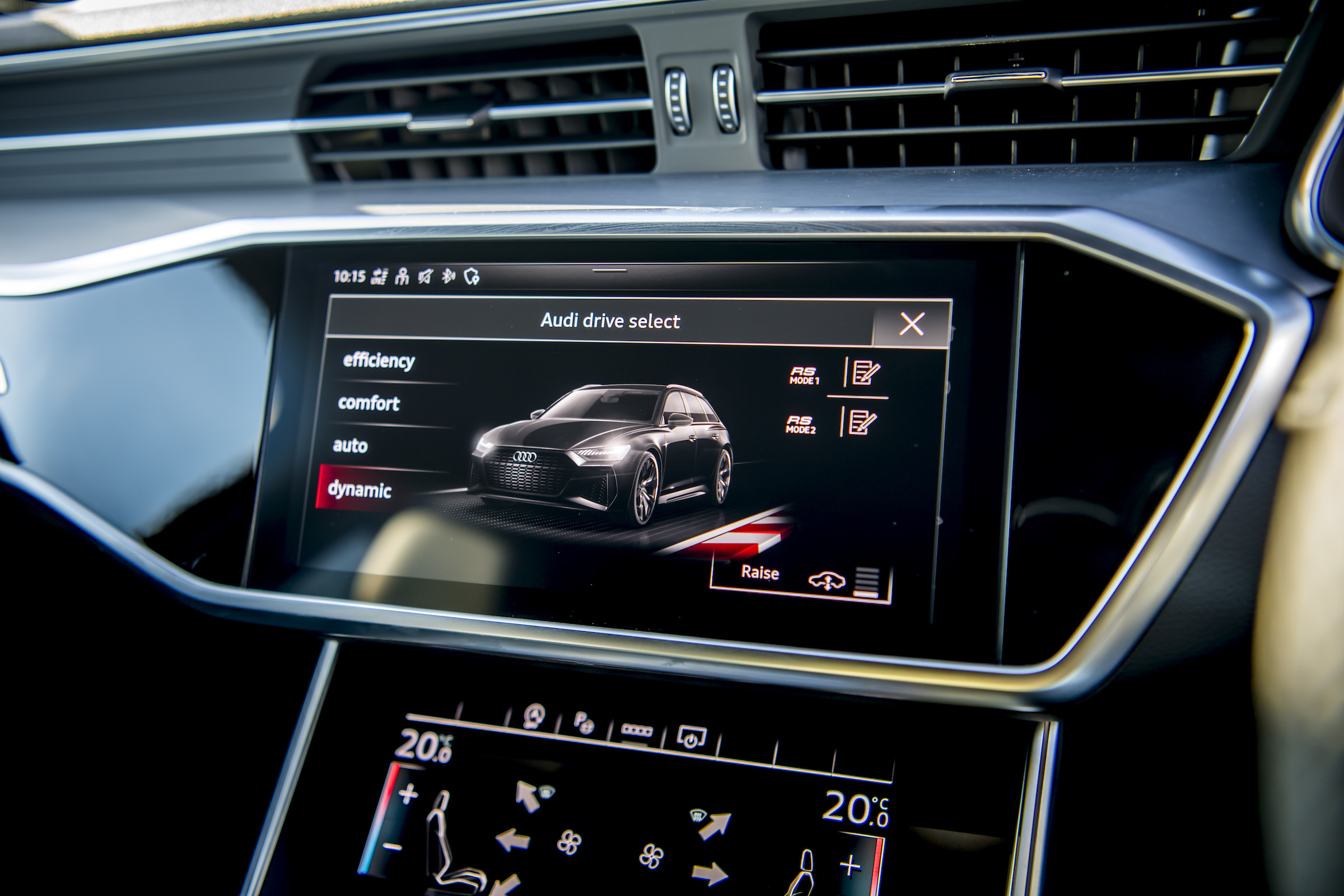 Audi RS6 interior drive modes screen
