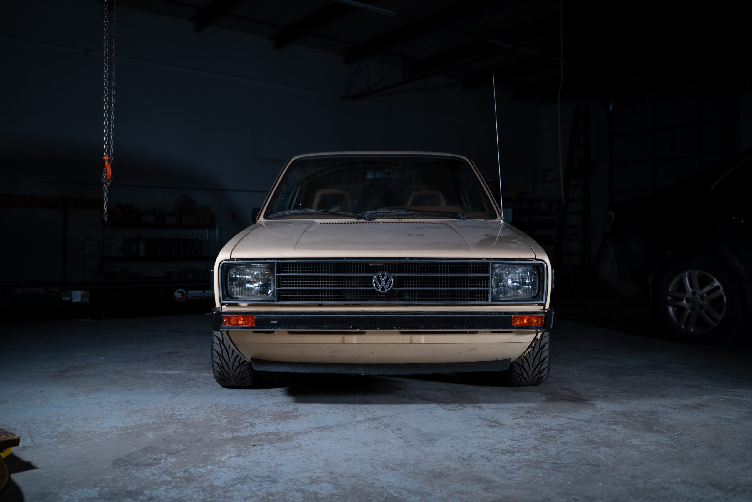 1980 VW Rabbit TDI swap garage beauty shot