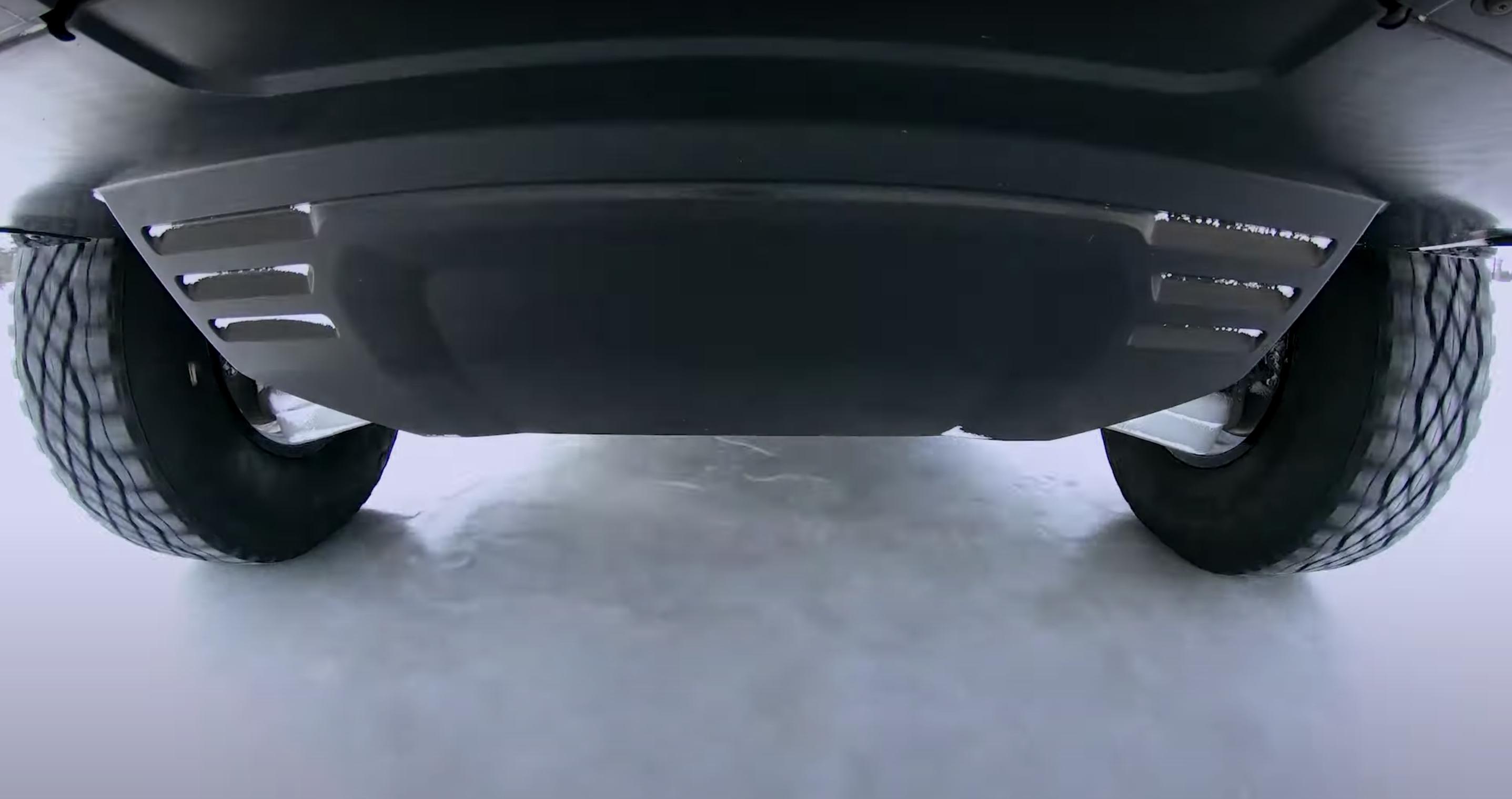 Hummer EV pickup winter testing underbody