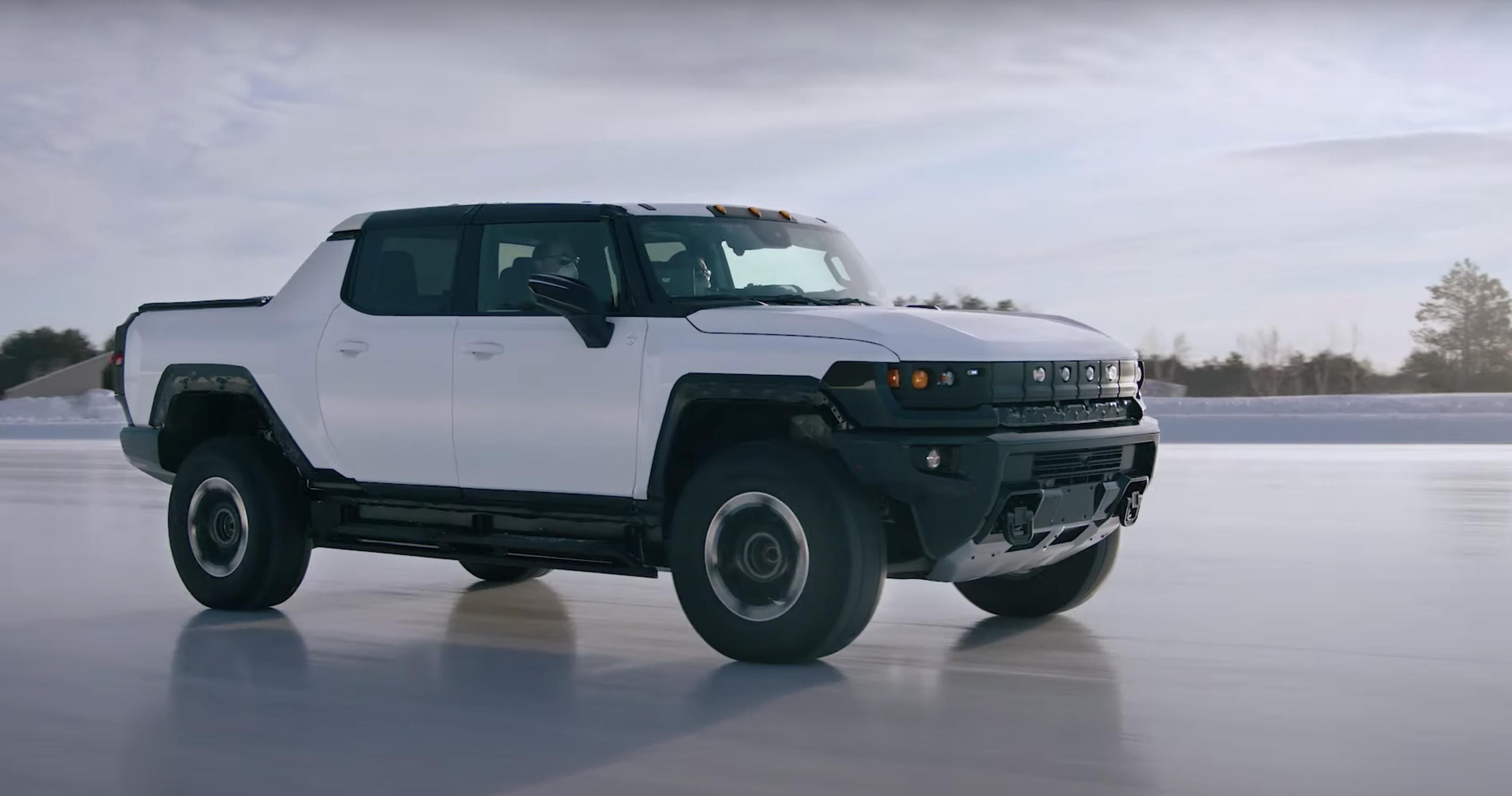 Hummer EV pickup winter testing camo