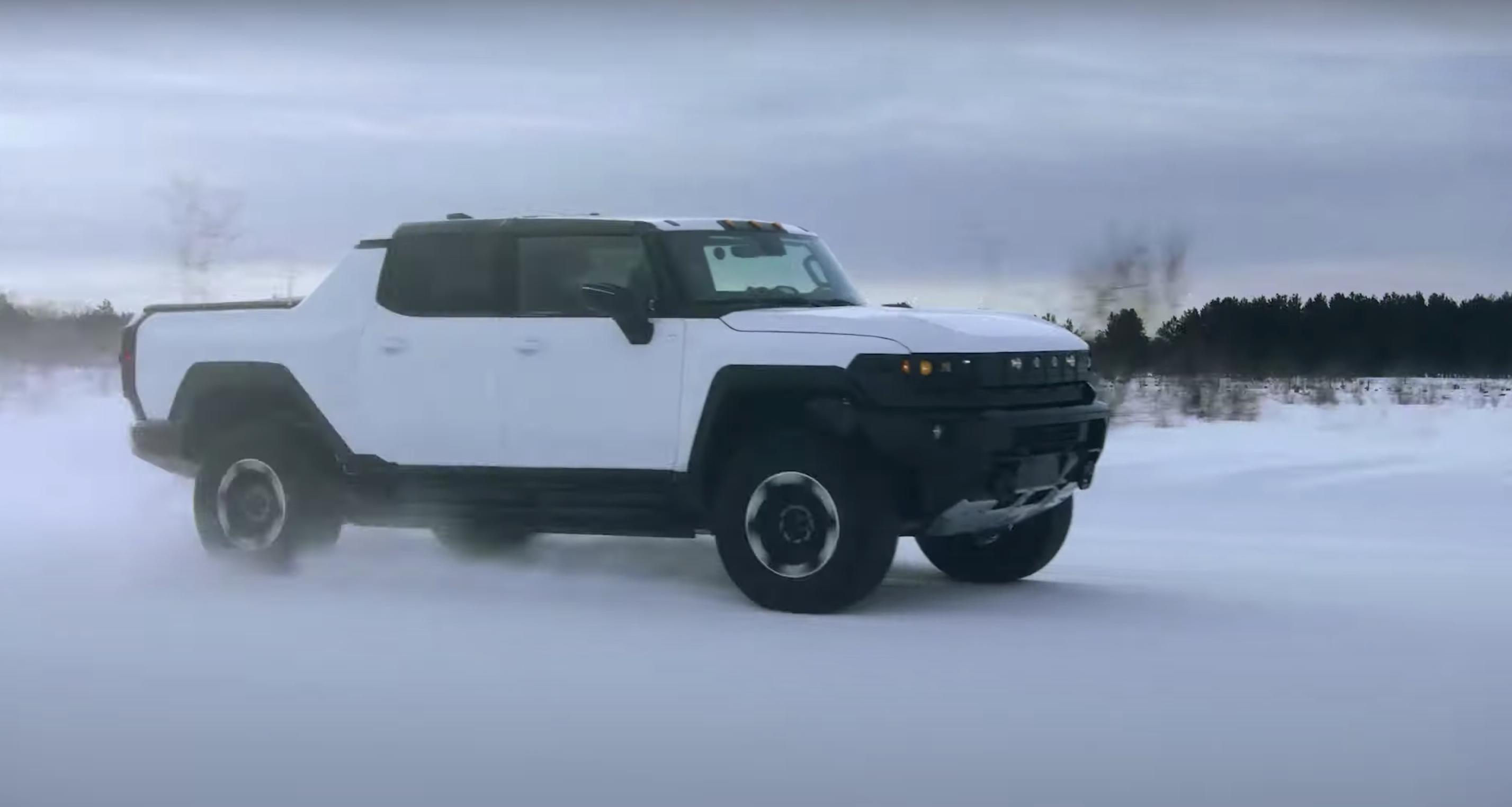 Hummer EV pickup winter testing profile camo snow