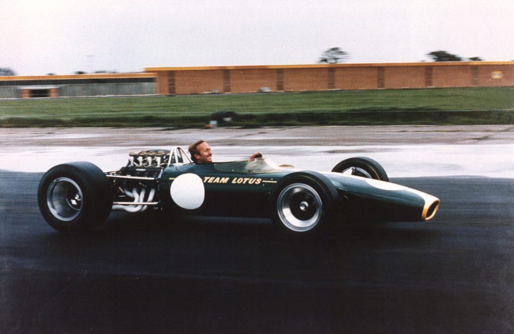 Colin Chapman in Lotus 49 at Hethel