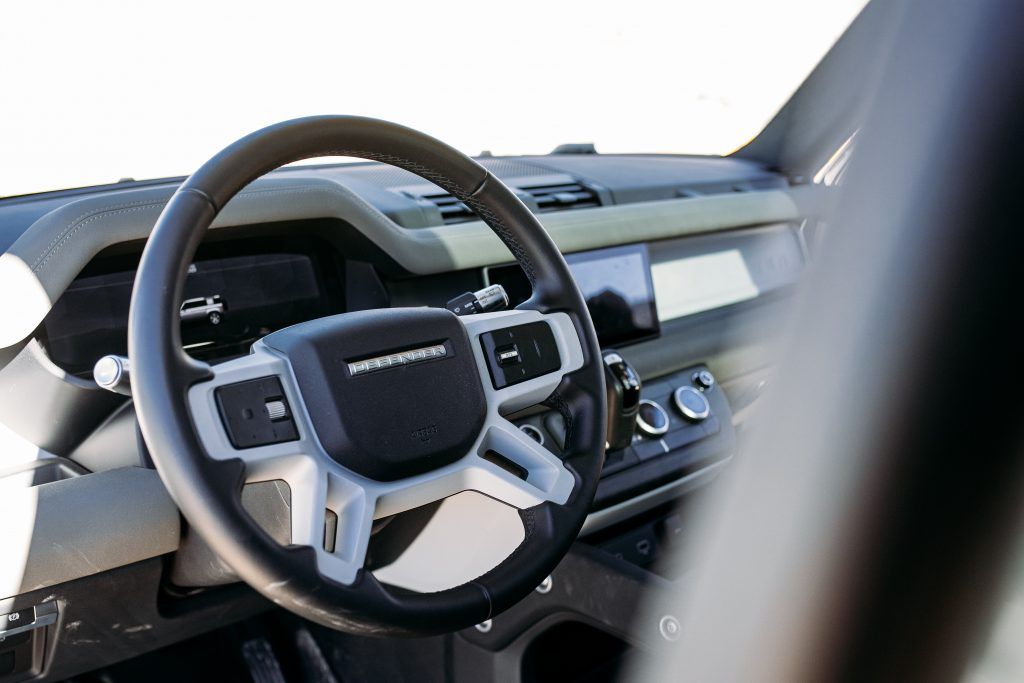 land rover defender interior front steering wheel