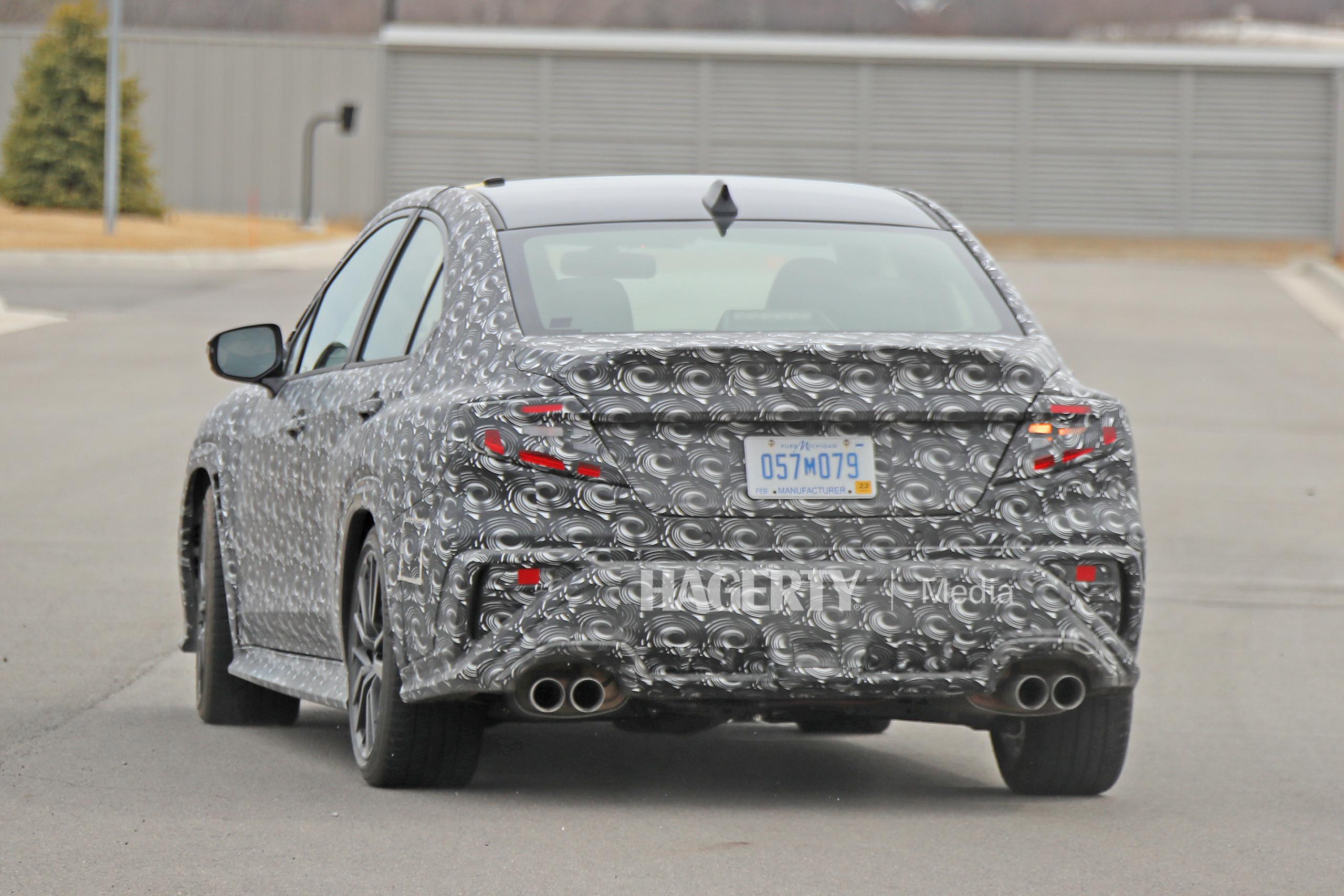 New Subaru WRX spy rear three-quarter