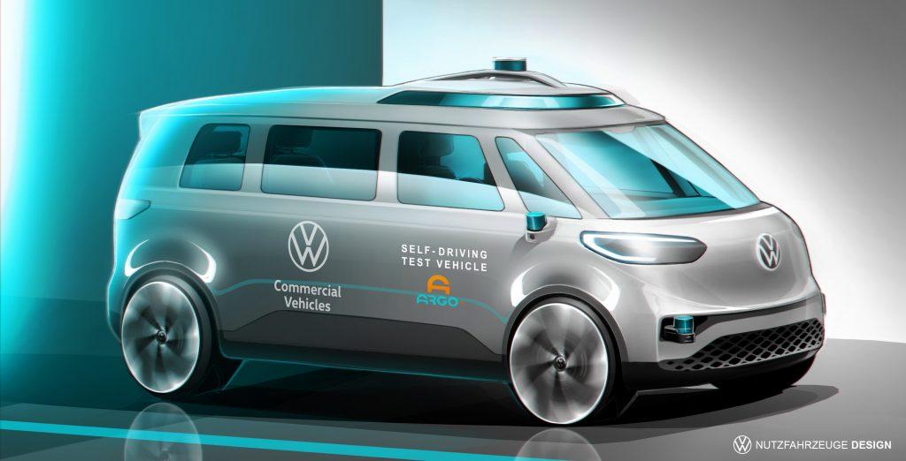 VW Volkswagen self driving commercial van render