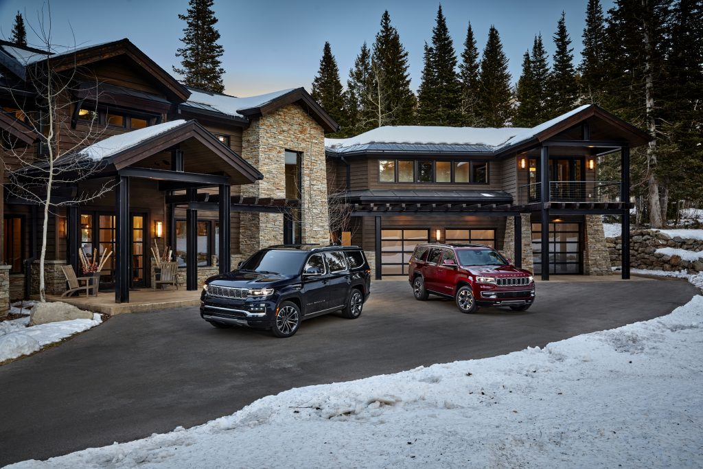 2022 Wagoneer and Grand Wagoneer in front of house
