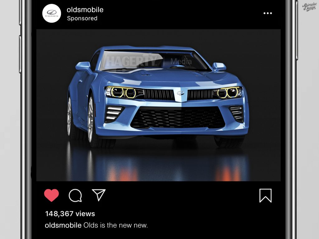 2021 Oldsmobile Cutlass Supreme what if graphic render instagram ad mockup