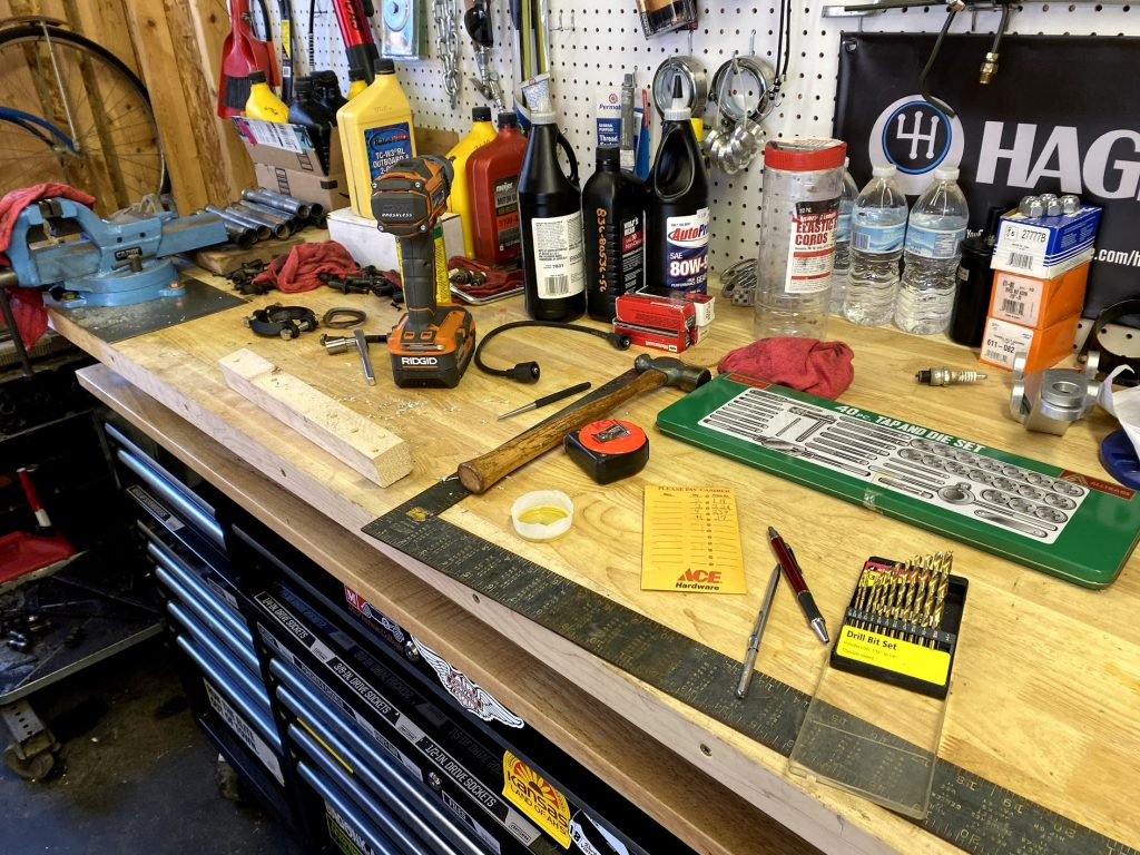 cluttered workbench