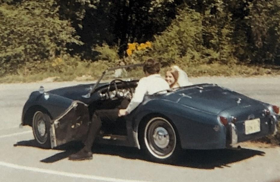 1959 Triumph TR3 leaving wedding 1971