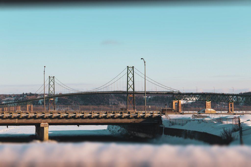 Chute Montmorency, Avenue Royale, Québec, QC, Canada bridge snow winter