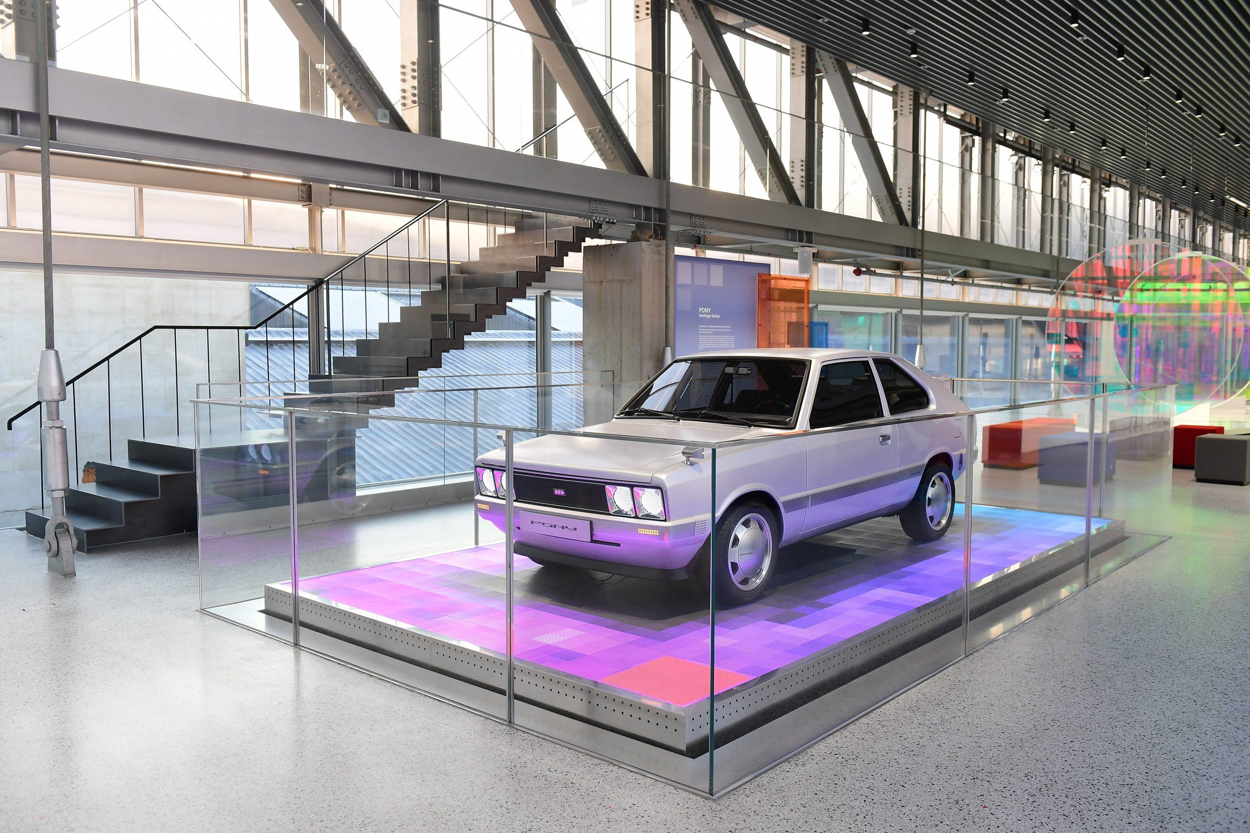 Hyundai Heritage Series Pony EV restomod headlight display