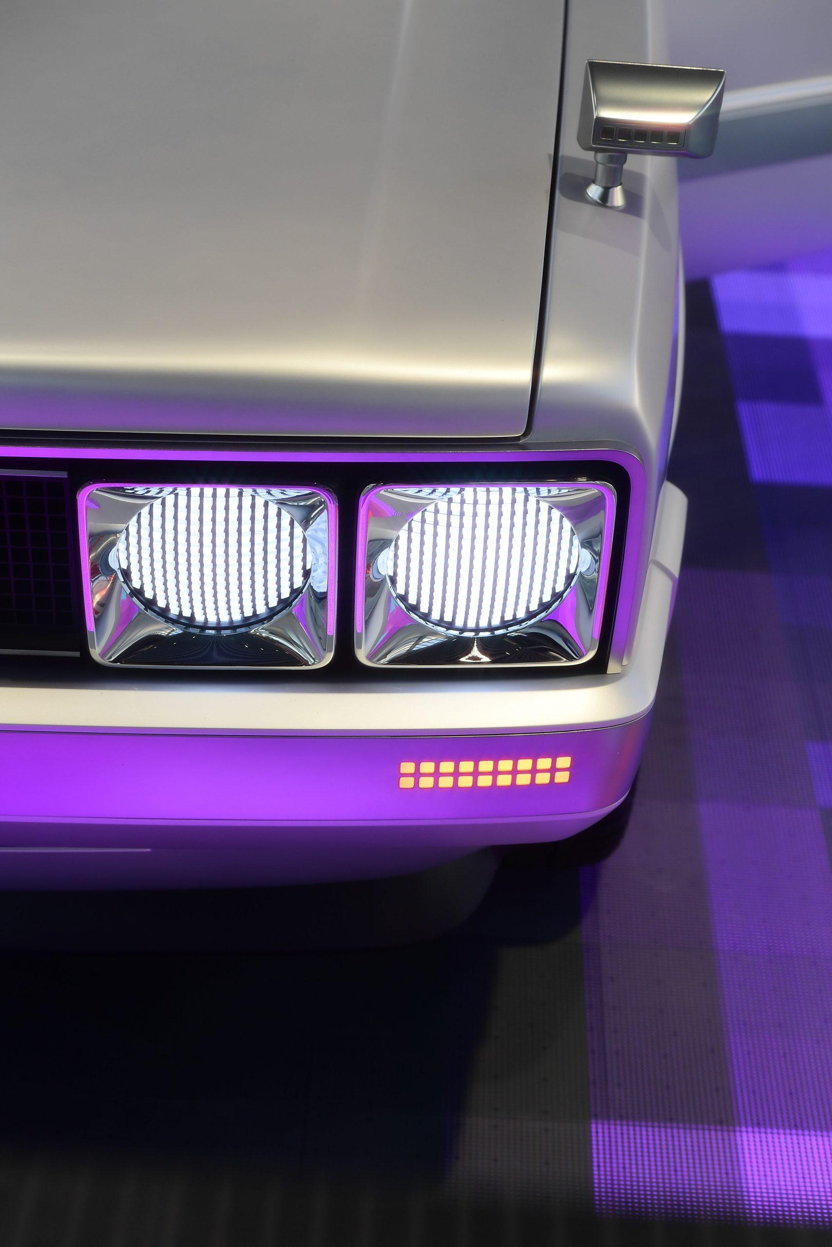 Hyundai Heritage Series Pony EV restomod headlight neon