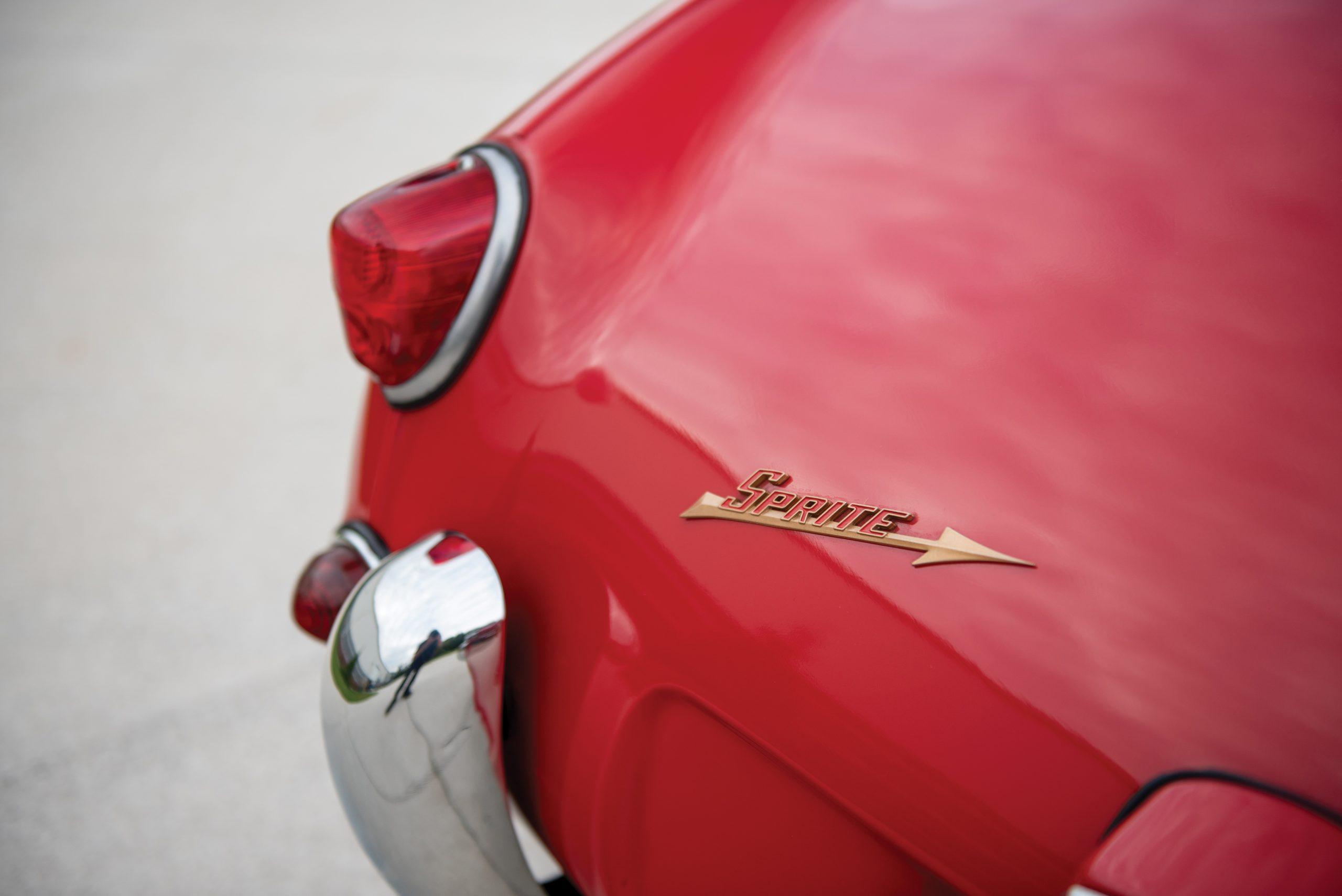 1959 Austin Healey Sprite Bugeye rear badge