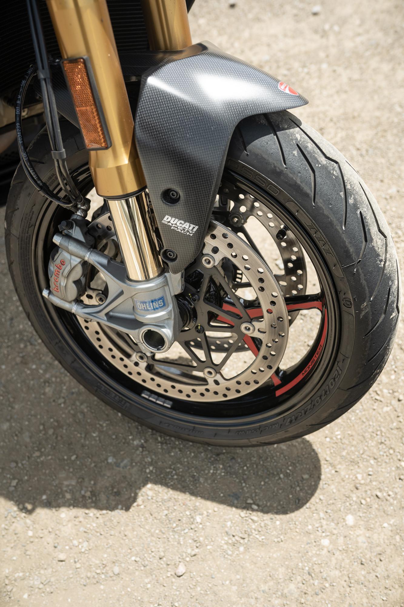 2021 Ducati Monster 1200 S front wheel detail vertical