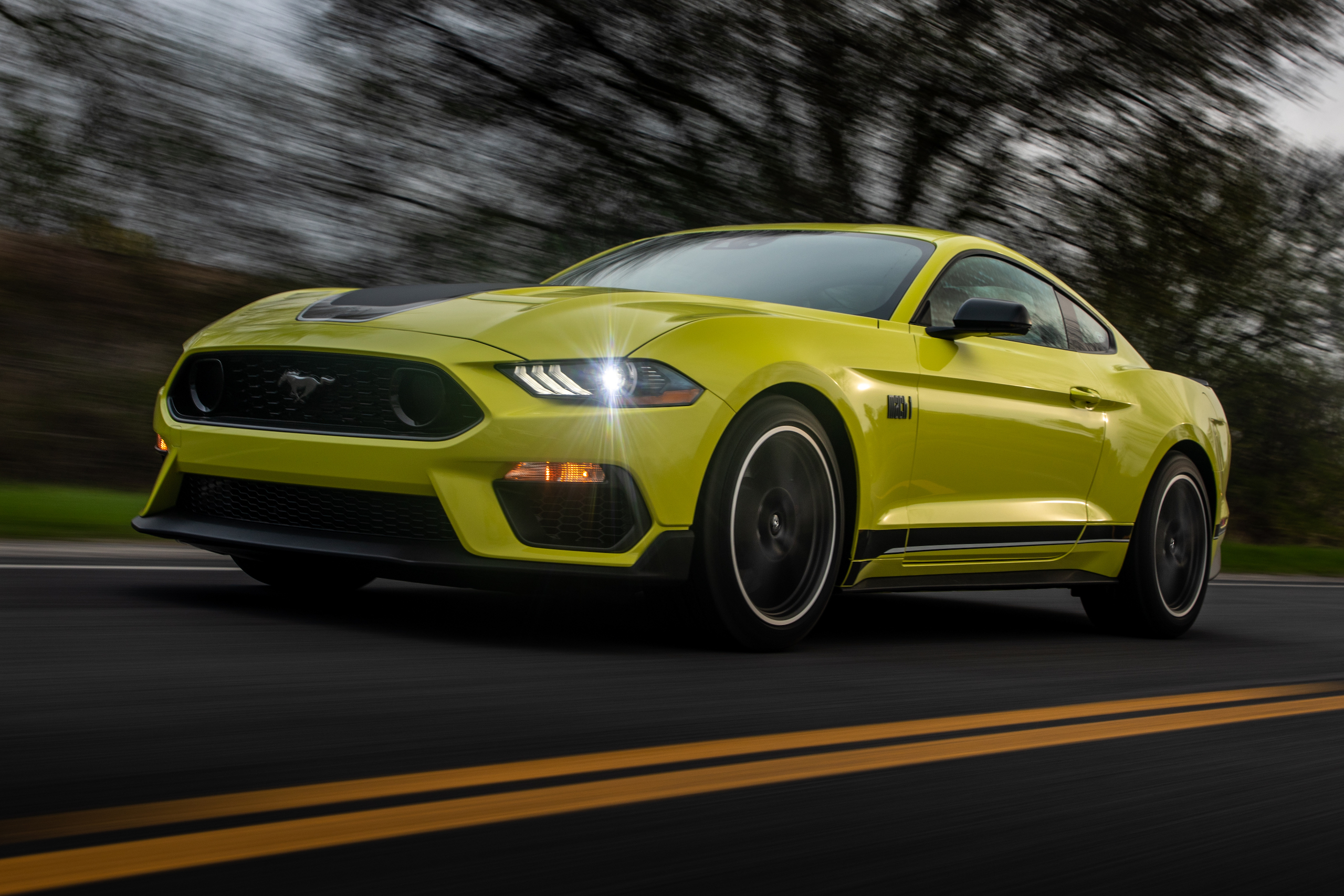 2021 Ford Mustang Mach 1 Grabber Yellow front three-quarter action