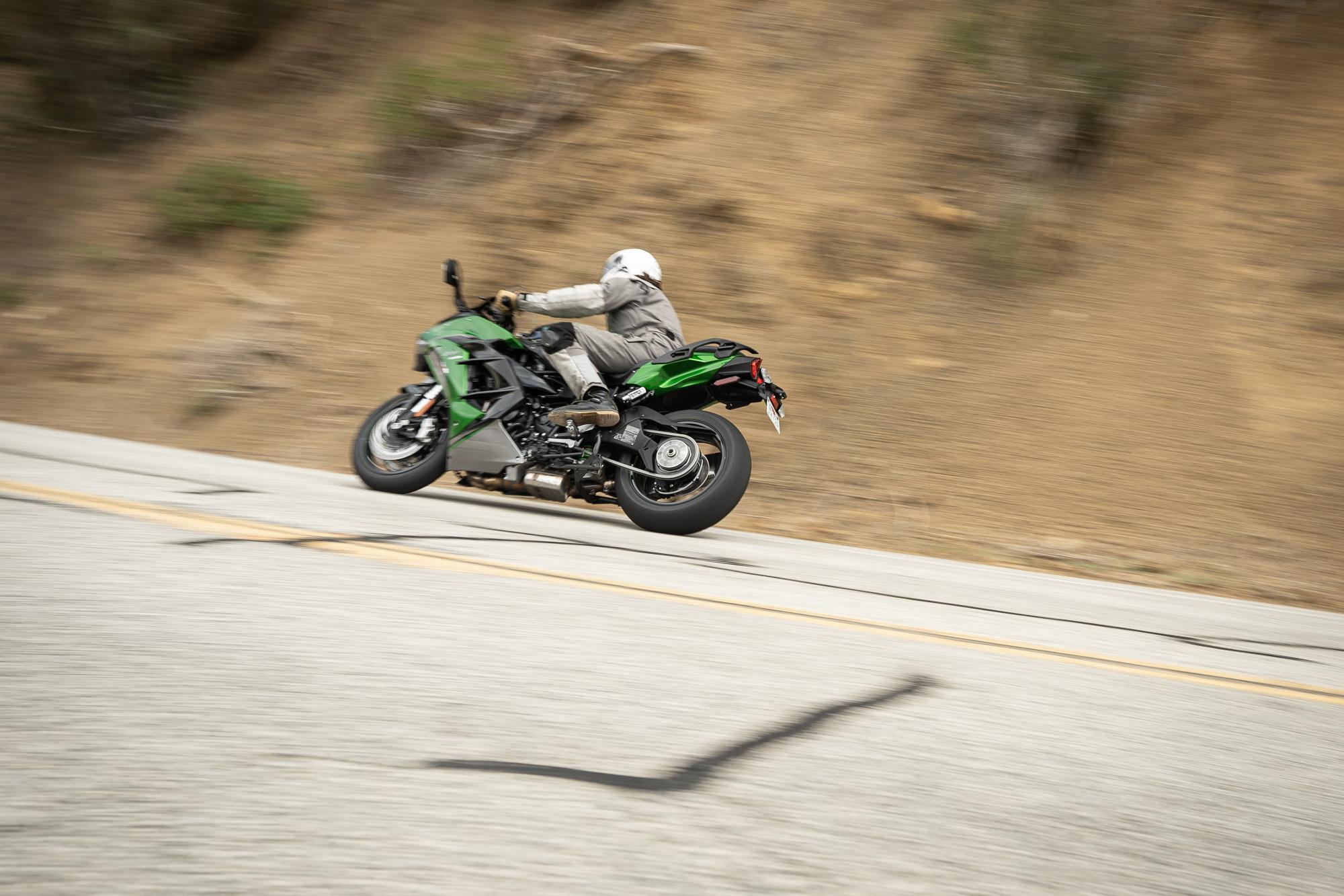 2021 Kawasaki H2 SX-SE rear three-quarter action