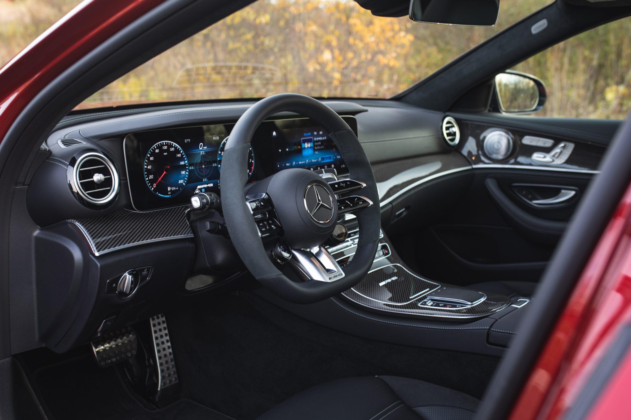 2021 Mercedes-AMG E63 S wagon interior front angle