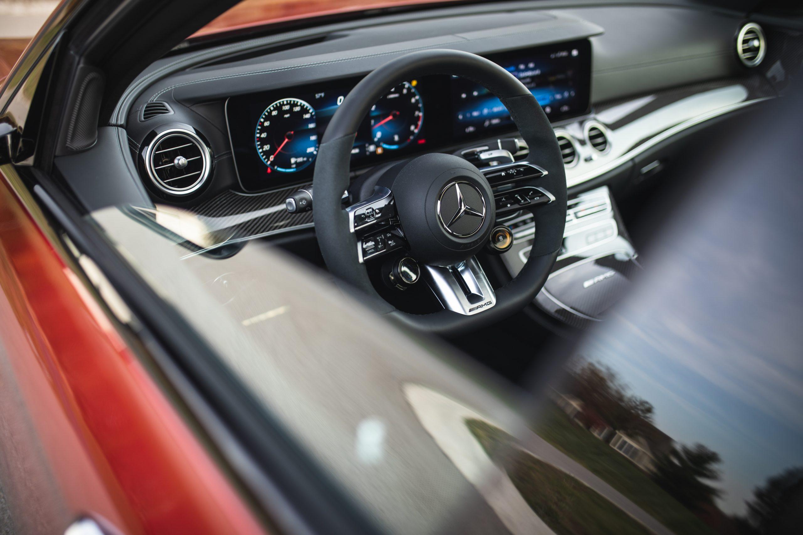 2021 Mercedes-AMG E63 S interior steering wheel through window