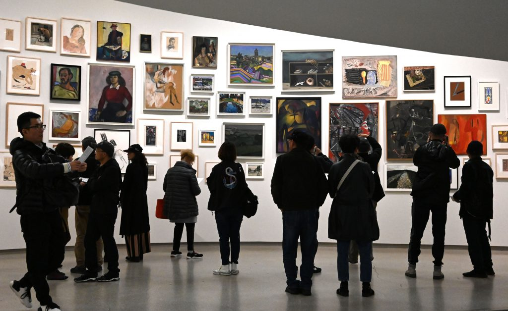 People tour the Guggenheim Museum in New York City